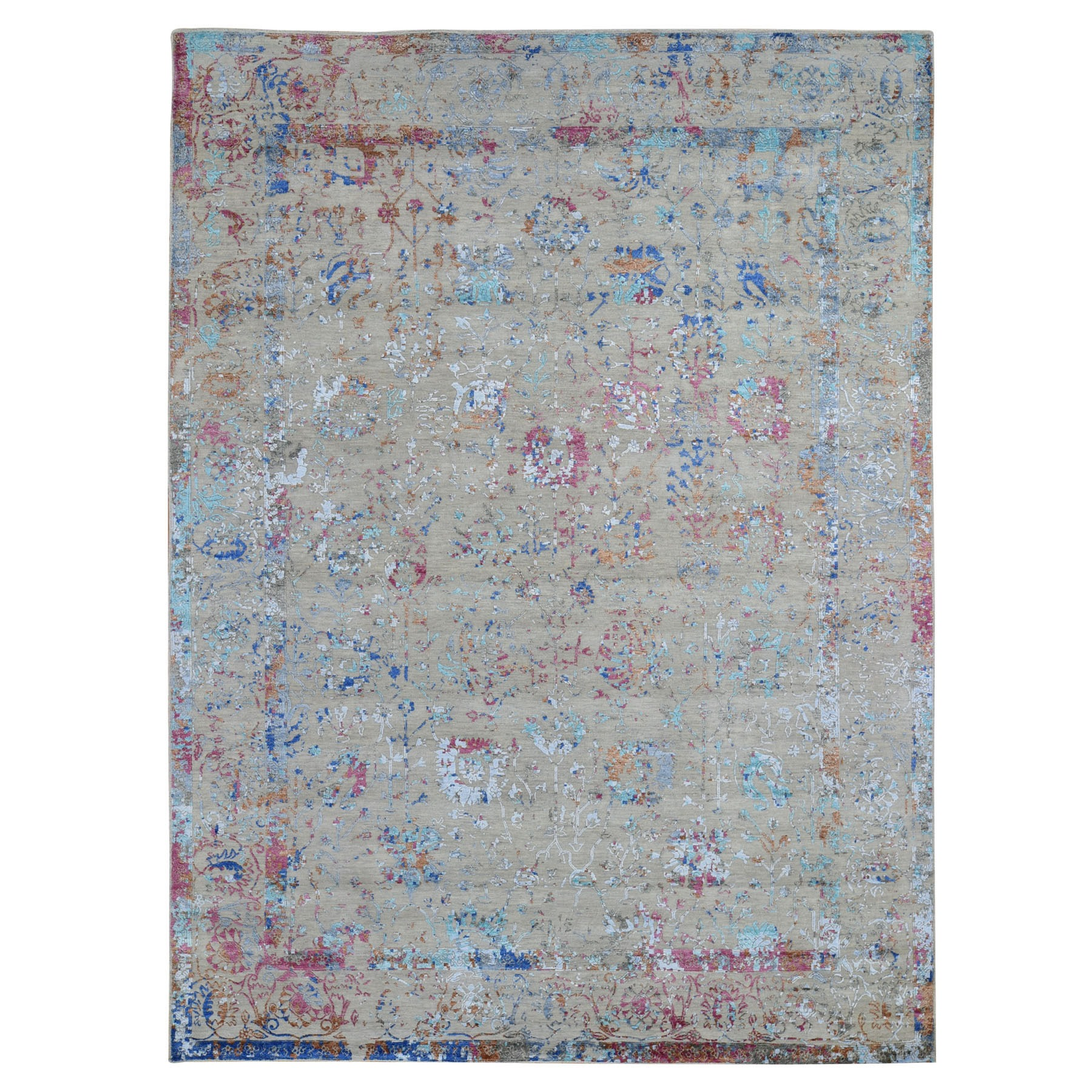 "9'1""X12'1"" Colorful Wool And Silk Erased Persian Design Hand Knotted Oriental Rug moad7e60"