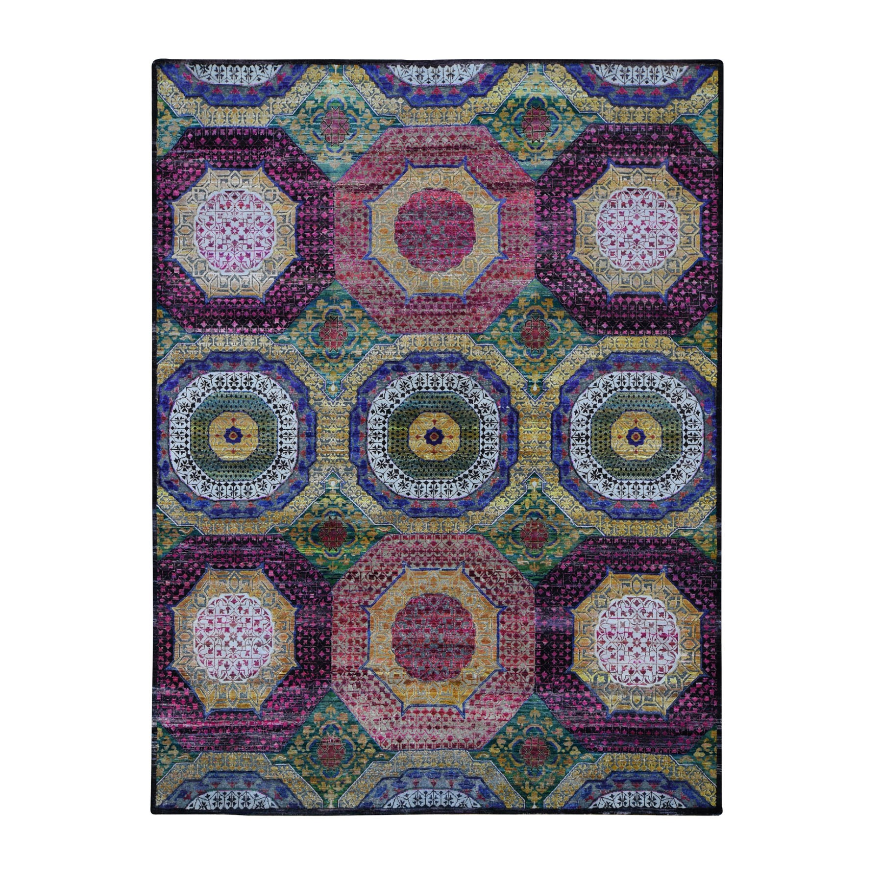 "8'1""x10'6"" Colorful Mamluk Design Sari Silk With Textured Wool Hand Knotted Oriental Rug"