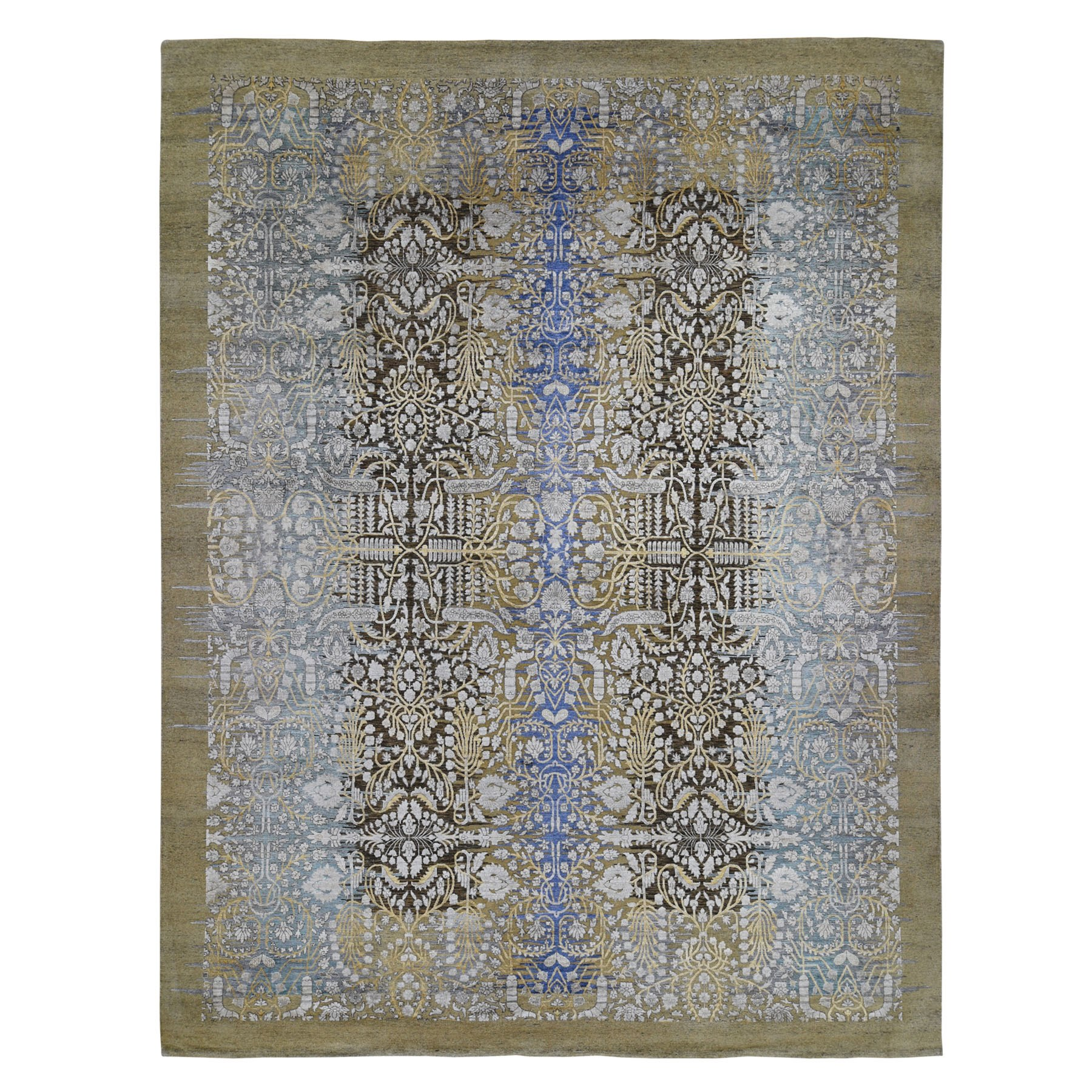 "12'2""x15'4"" Oversized Silk with Textured Wool Transitional Sarouk Hand Knotted Oriental Rug"