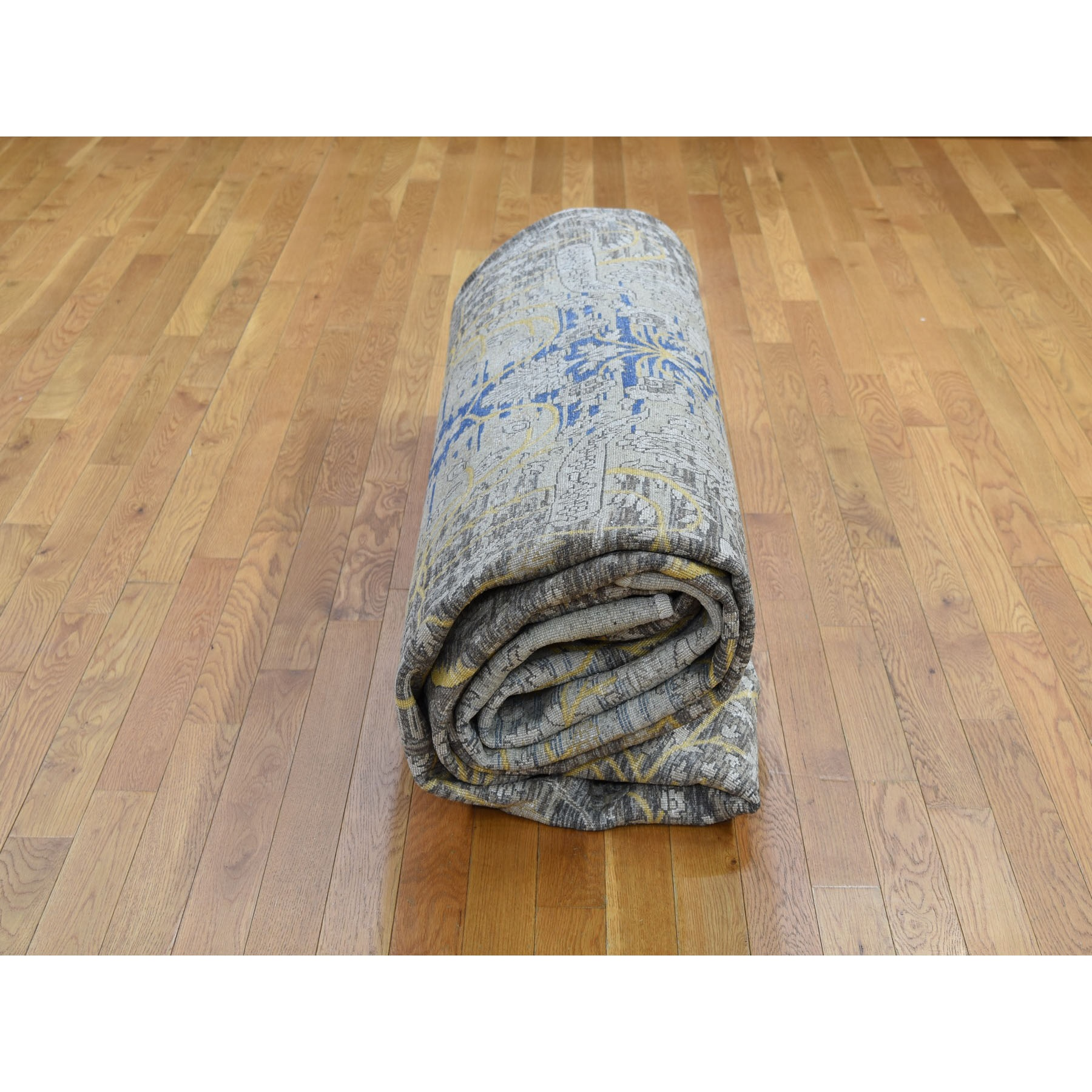 12-2 x15-4  Oversized Silk with Textured Wool Transitional Sarouk Hand Knotted Oriental Rug