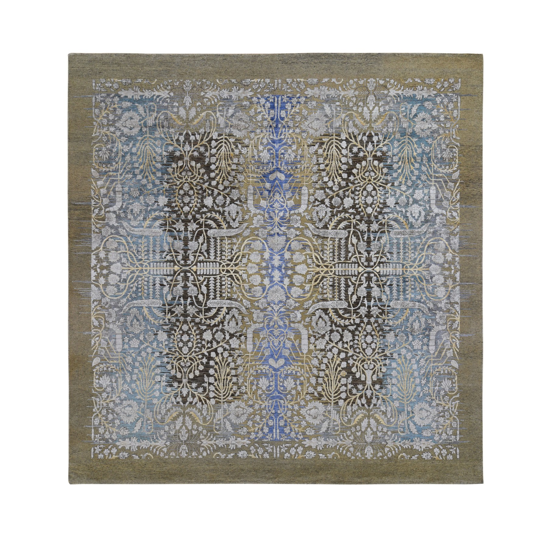 10'X10' Square Silk With Textured Wool Transitional Sarouk Hand Knotted Oriental Rug moad7e6c