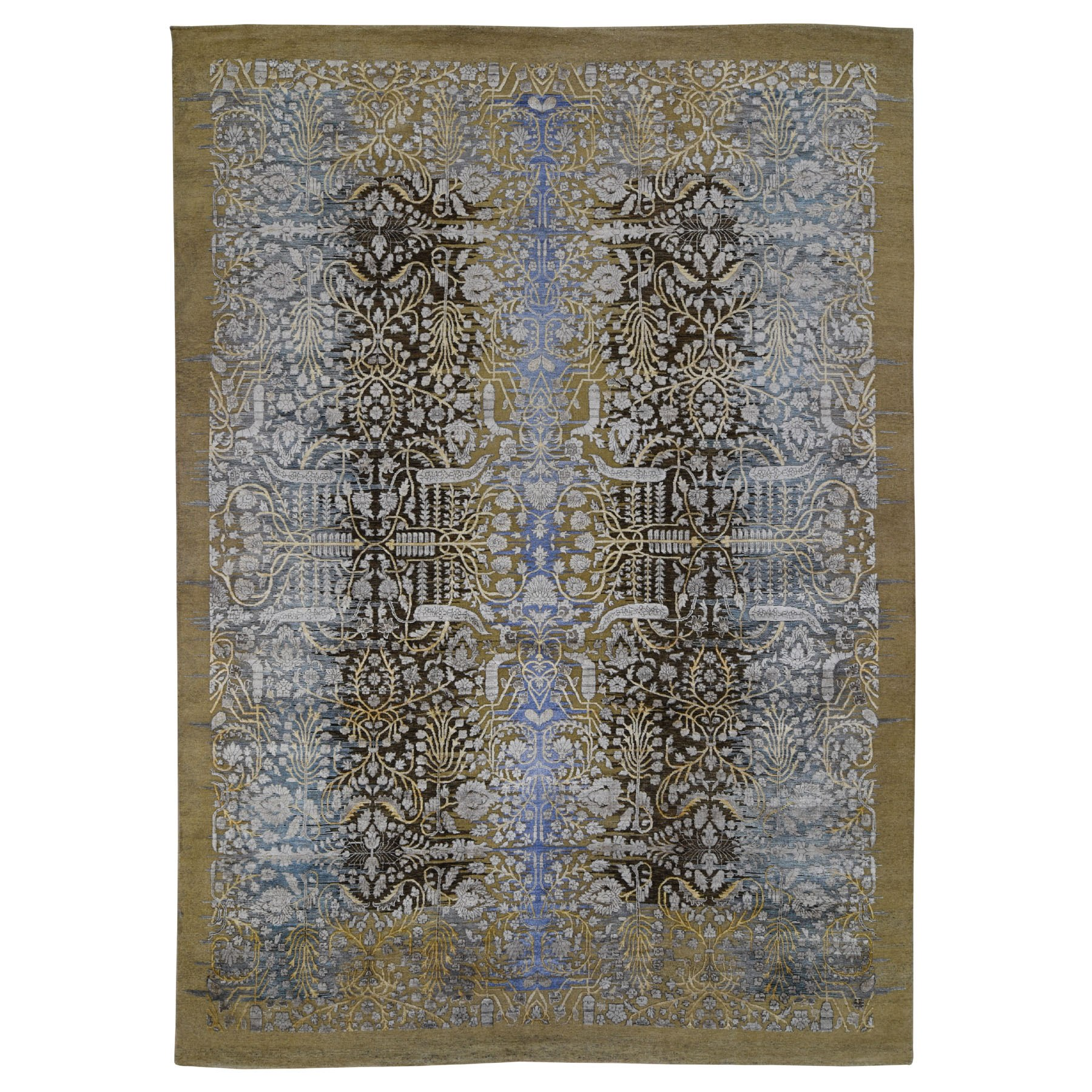 "9'10""x14'2"" Silk with Textured Wool Transitional Sarouk Hand-Knotted Oriental Rug"
