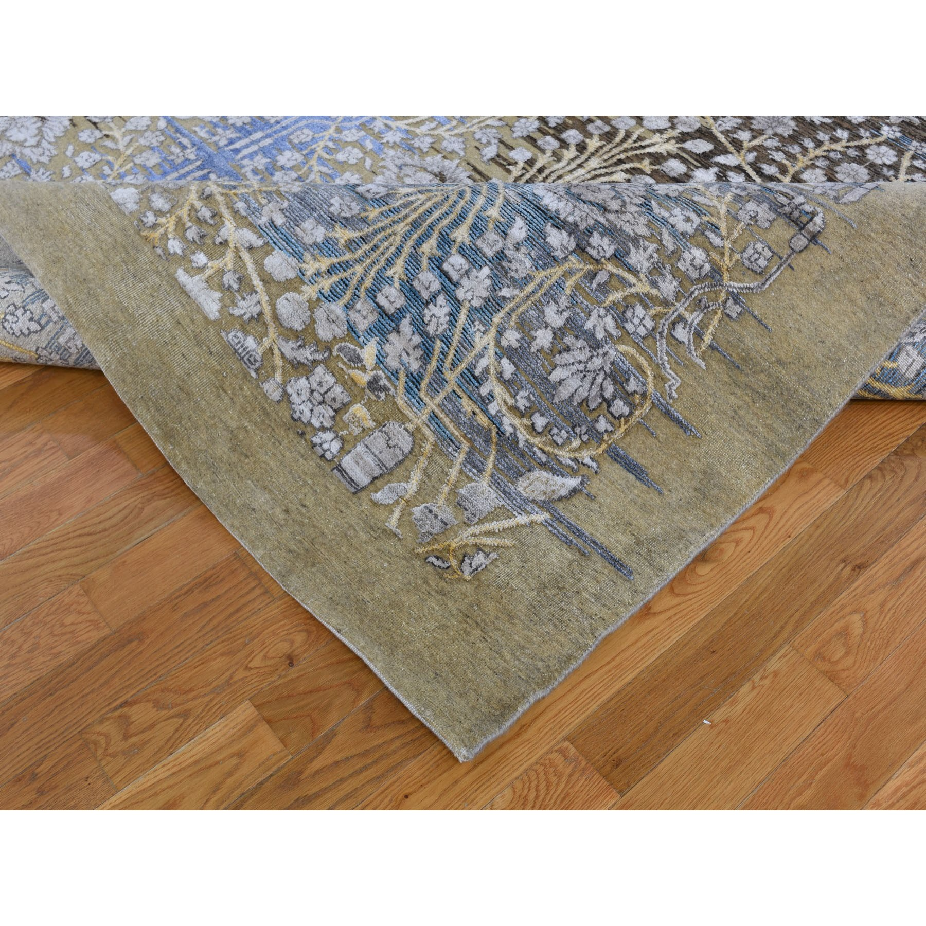 9-10 x14-2  Silk with Textured Wool Transitional Sarouk Hand-Knotted Oriental Rug