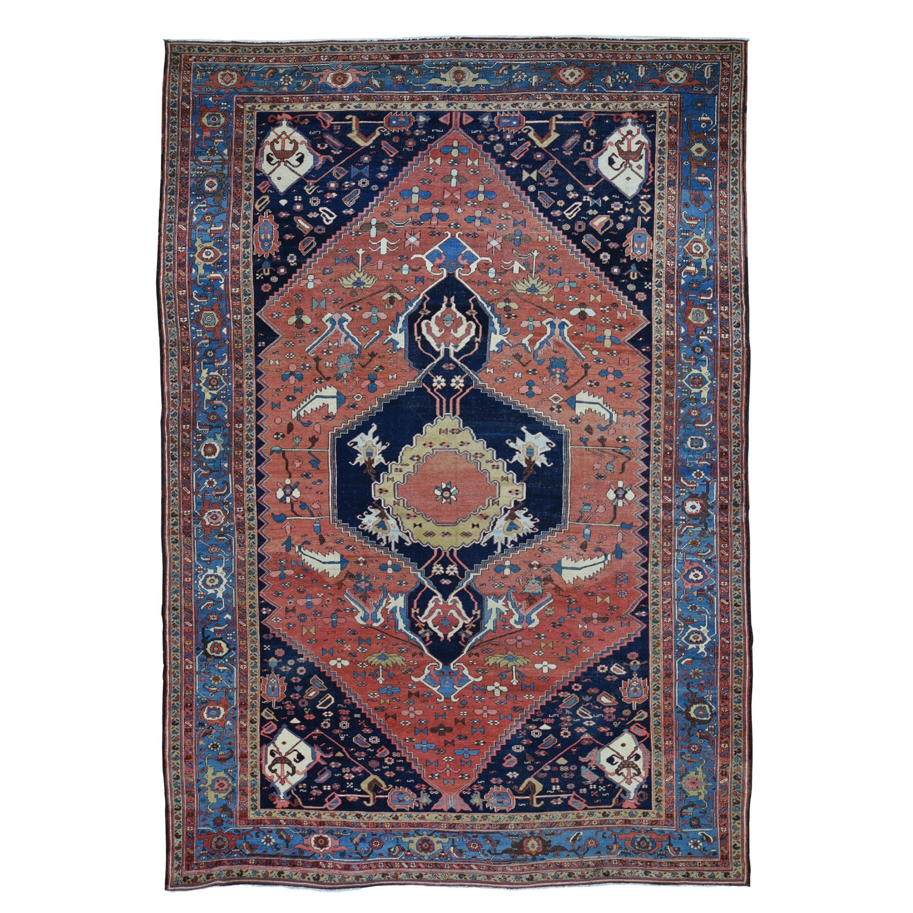 "9'5""x14'10"" Terracotta Red Antique Persian Bakshaish Good Condition Clean Pure Wool Hand Knotted Rug"