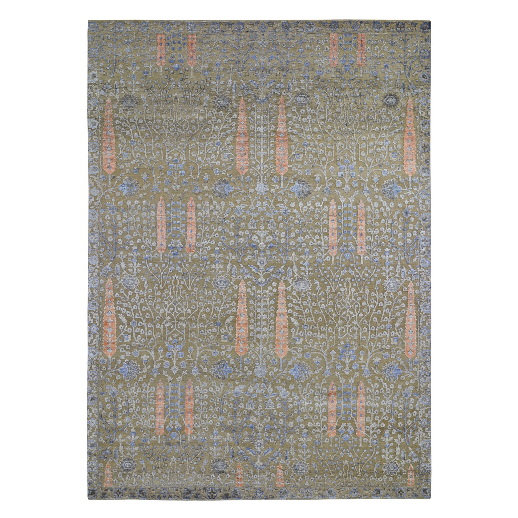 10'X14' Cypress Tree Design Silk With Textured Wool Hand Knotted Oriental Rug moad7e70