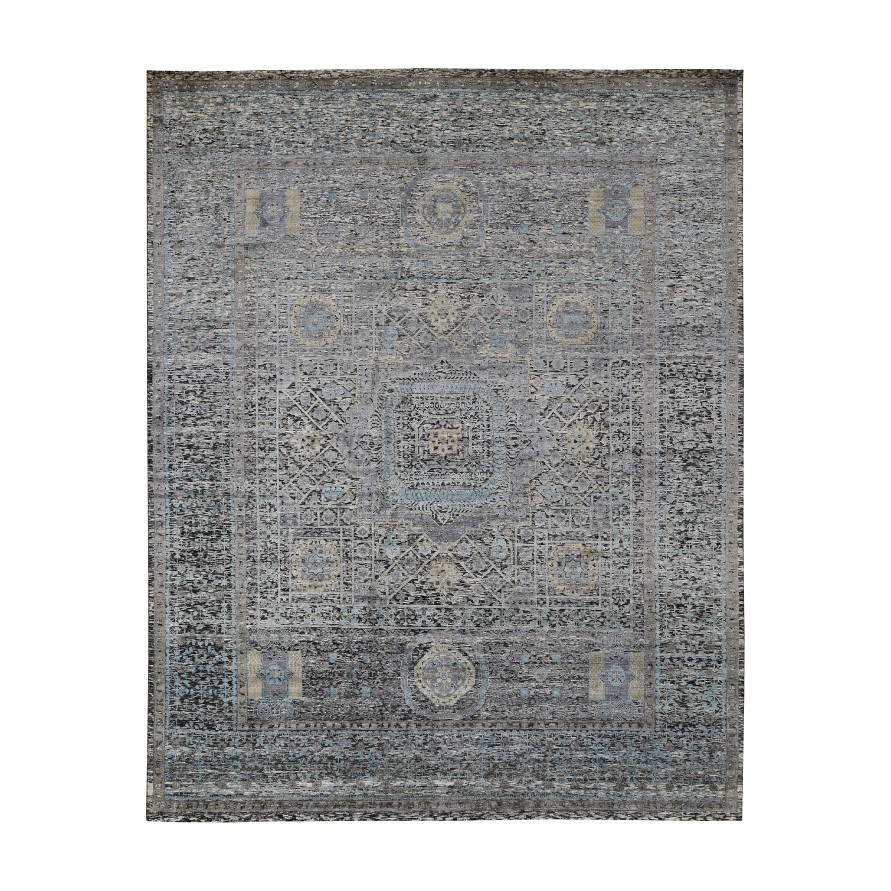 "8'2""X10'3"" Gray Silk With Textured Wool Mamluk Design Hand Knotted Oriental Rug moad7e7a"