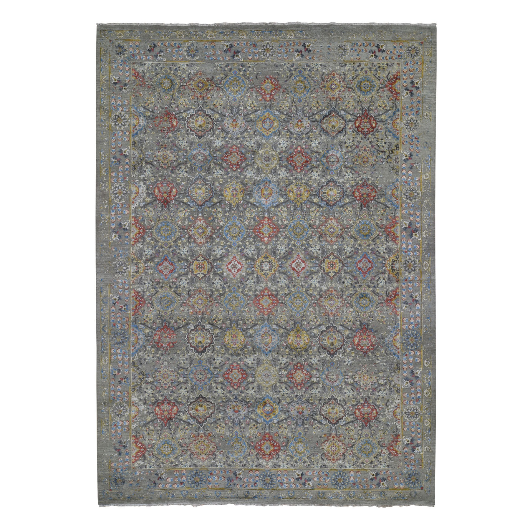 "10'X14'1"" The Sunset Rosettes Pure Silk And Wool Hand Knotted Oriental Rug moad7e7b"