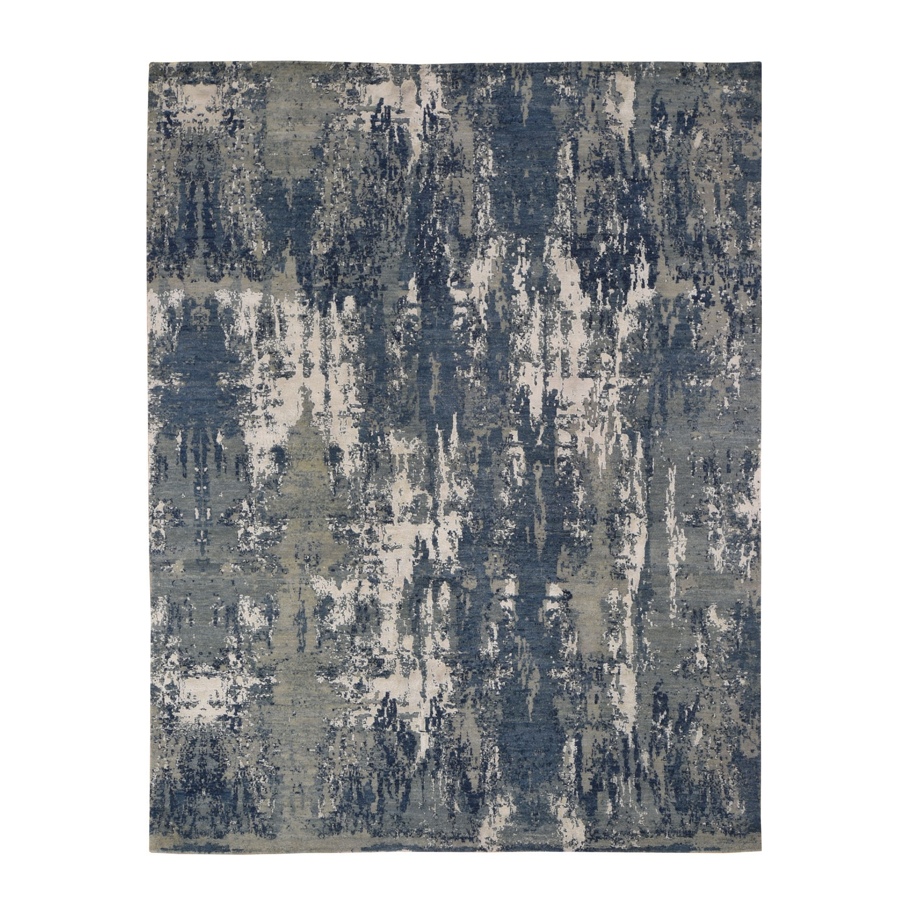"8'X10'4"" Blue-Gray Abstract Design Wool And Pure Silk Hand Knotted Oriental Rug moad7e7d"