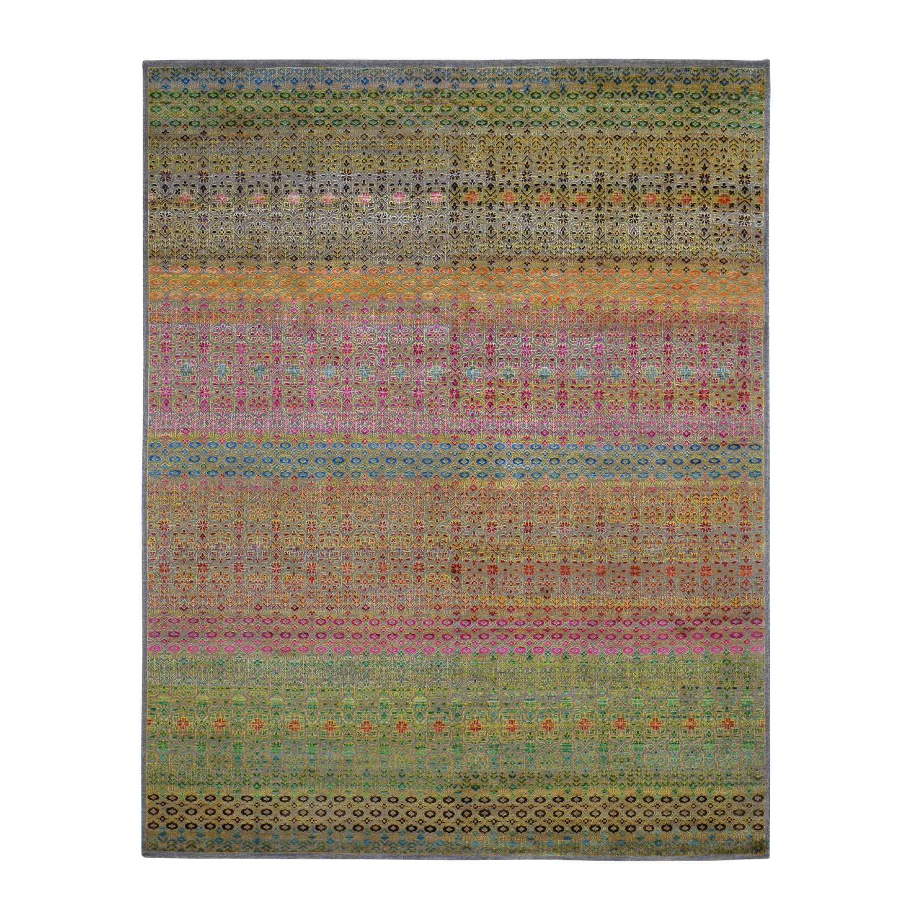 8'X10' Colorful Grass Design Sari Silk Textured Wool Modern Hand Knotted Oriental Rug moad7e78