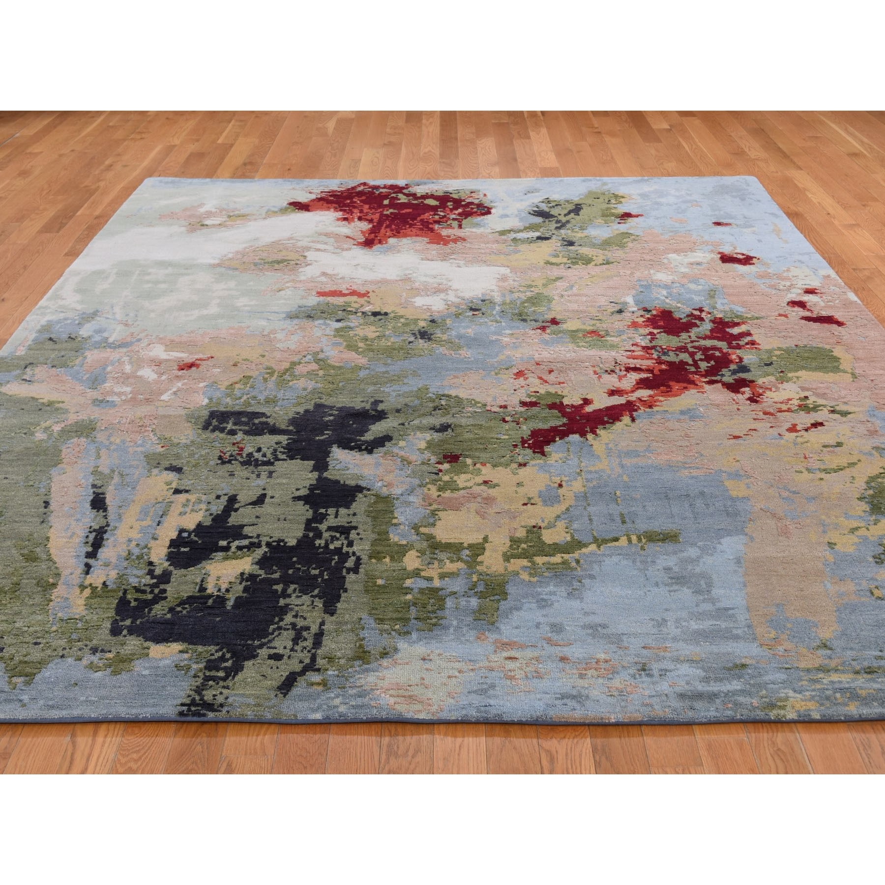 8-x10- Wool And Silk Hi And Lo Pile Abstract Design Hand Knotted Oriental Rug