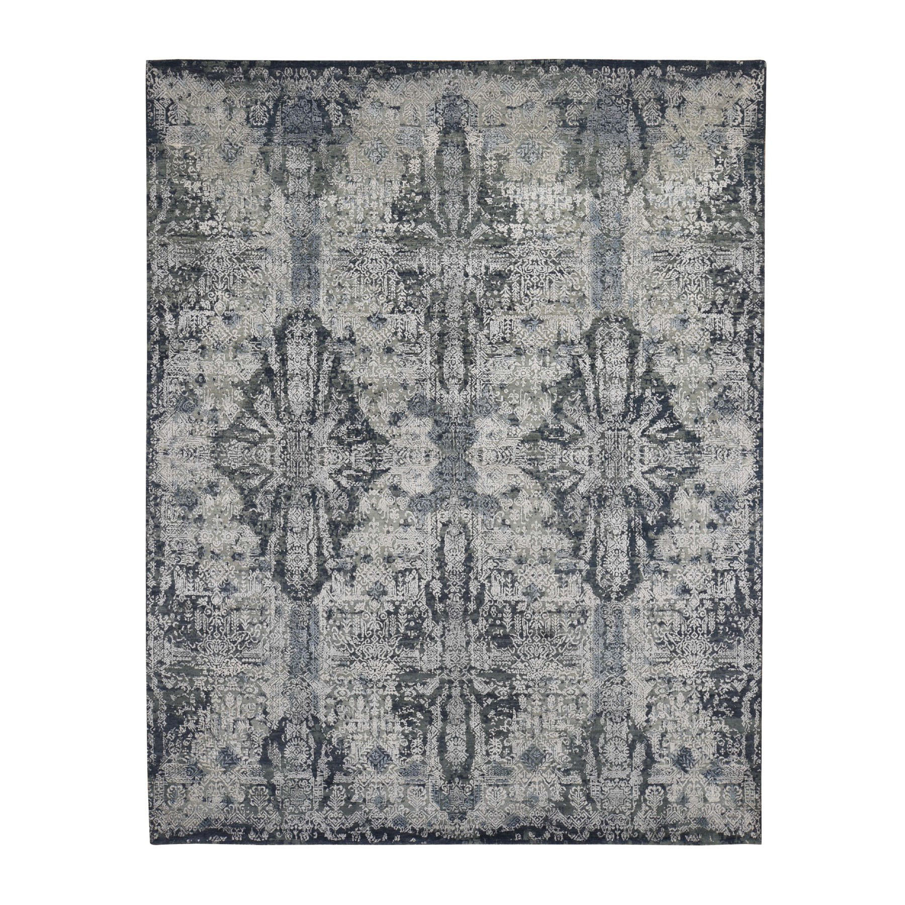 "7'10""x10' Jewellery Design Tone On Tone Half Wool And Half Silk Hand Knotted Oriental Rug"