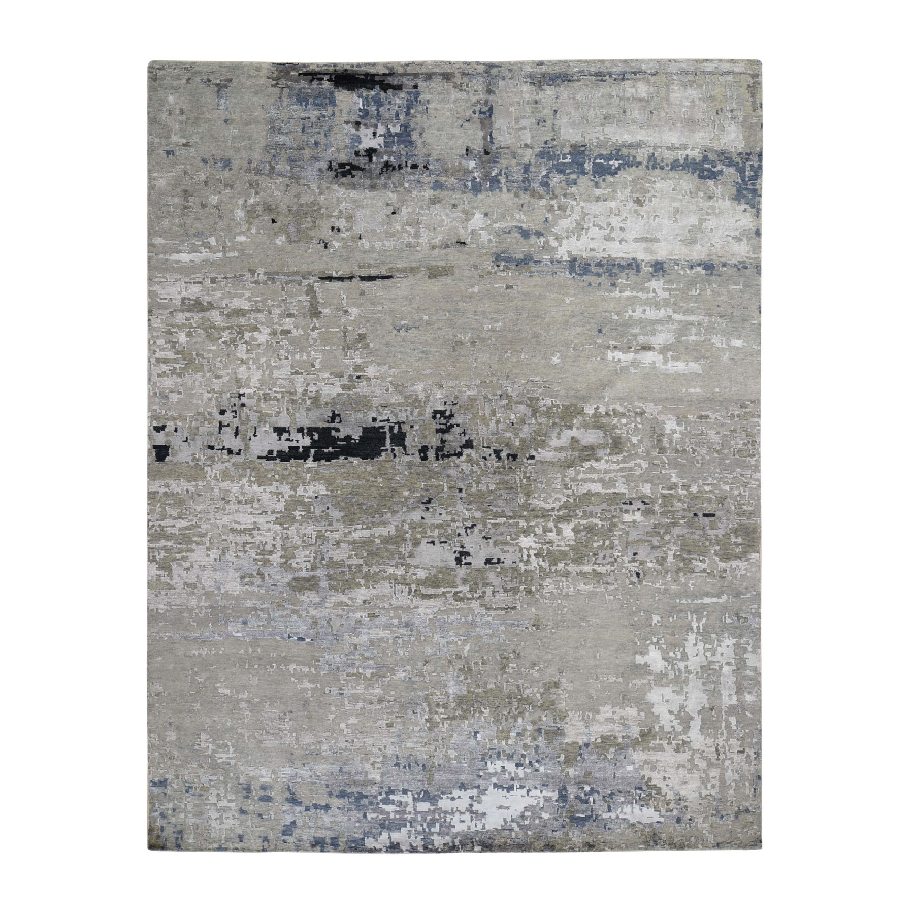 "9'1""x11'9"" Hand Knotted Gray Abstract Design Wool and Silk Hi-Low Pile Oriental Rug 47583"
