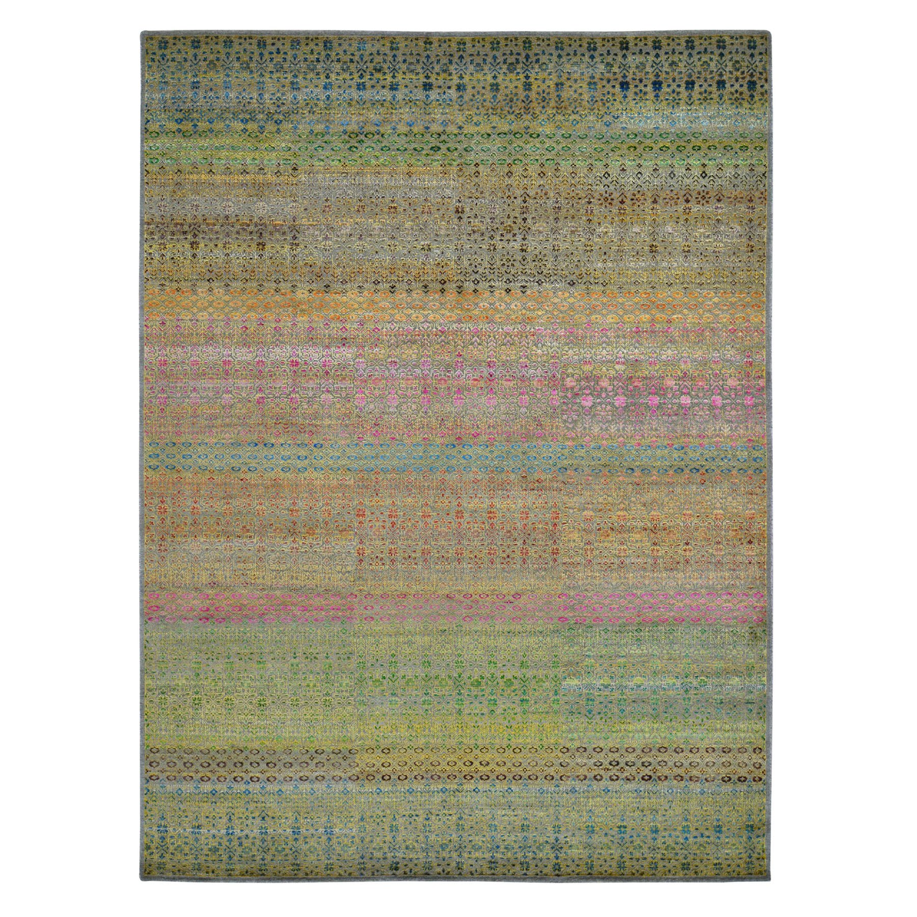 9'X12' Colorful Grass Design Sari Silk Textured Wool Modern Hand Knotted Oriental Rug moad7e8d