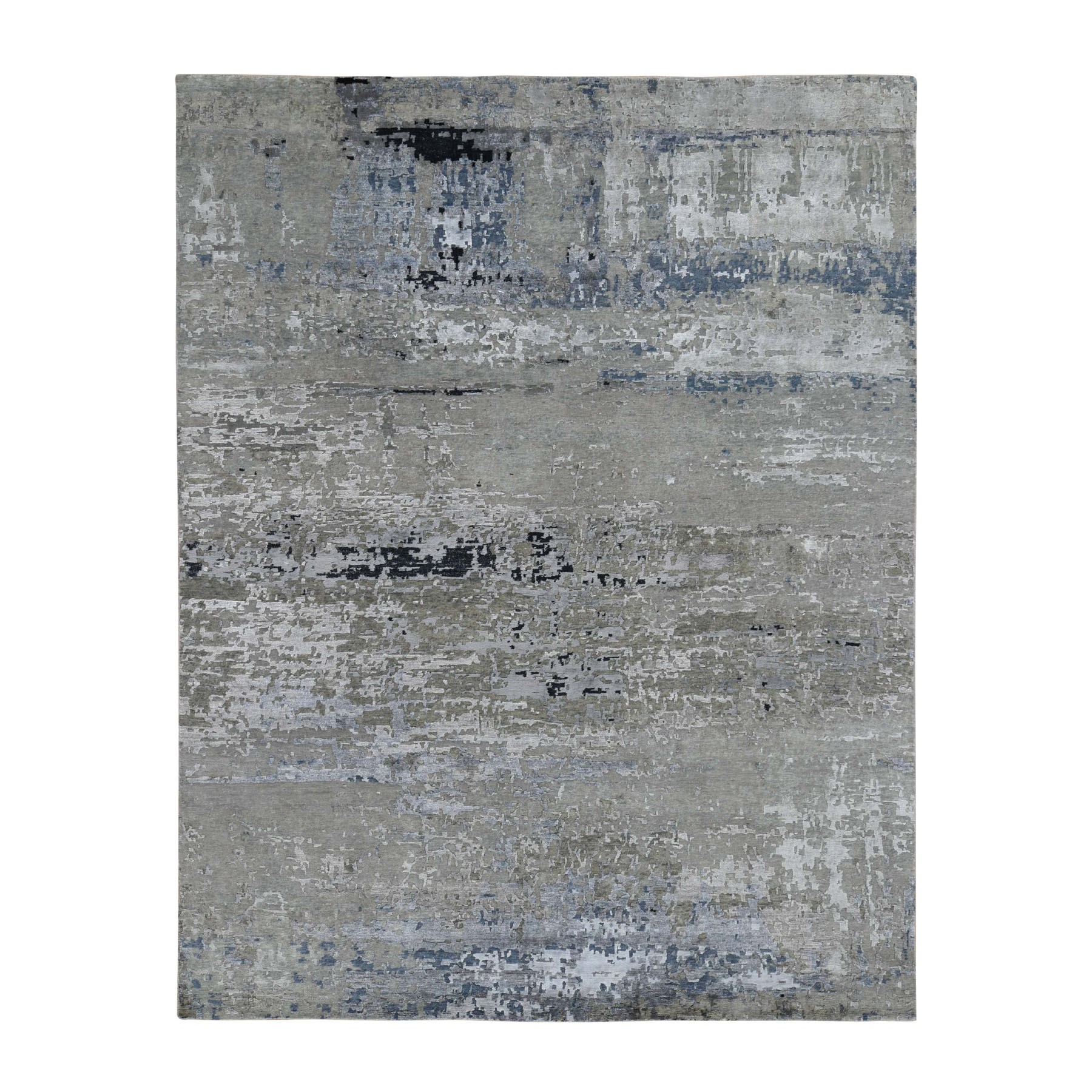 "8'1""X10' Hand Knotted Gray Abstract Design Wool And Silk Hi-Low Pile Oriental Rug moad7e8e"