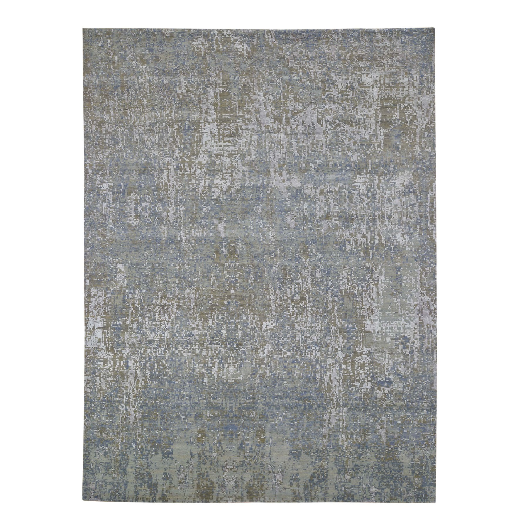 "9'x12'2"" Gray Abstract Design Wool And Pure Silk Hand Knotted Oriental Rug"