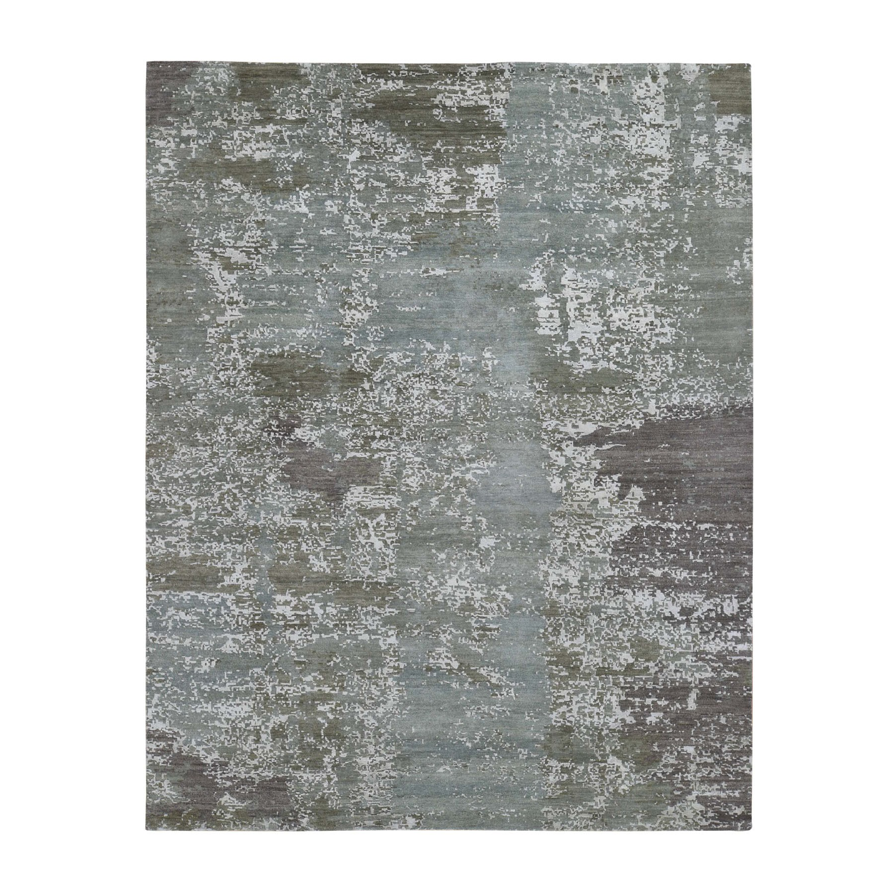 8'X10' Gray Abstract Design Wool And Pure Silk Hand Knotted Oriental Rug moad7e87