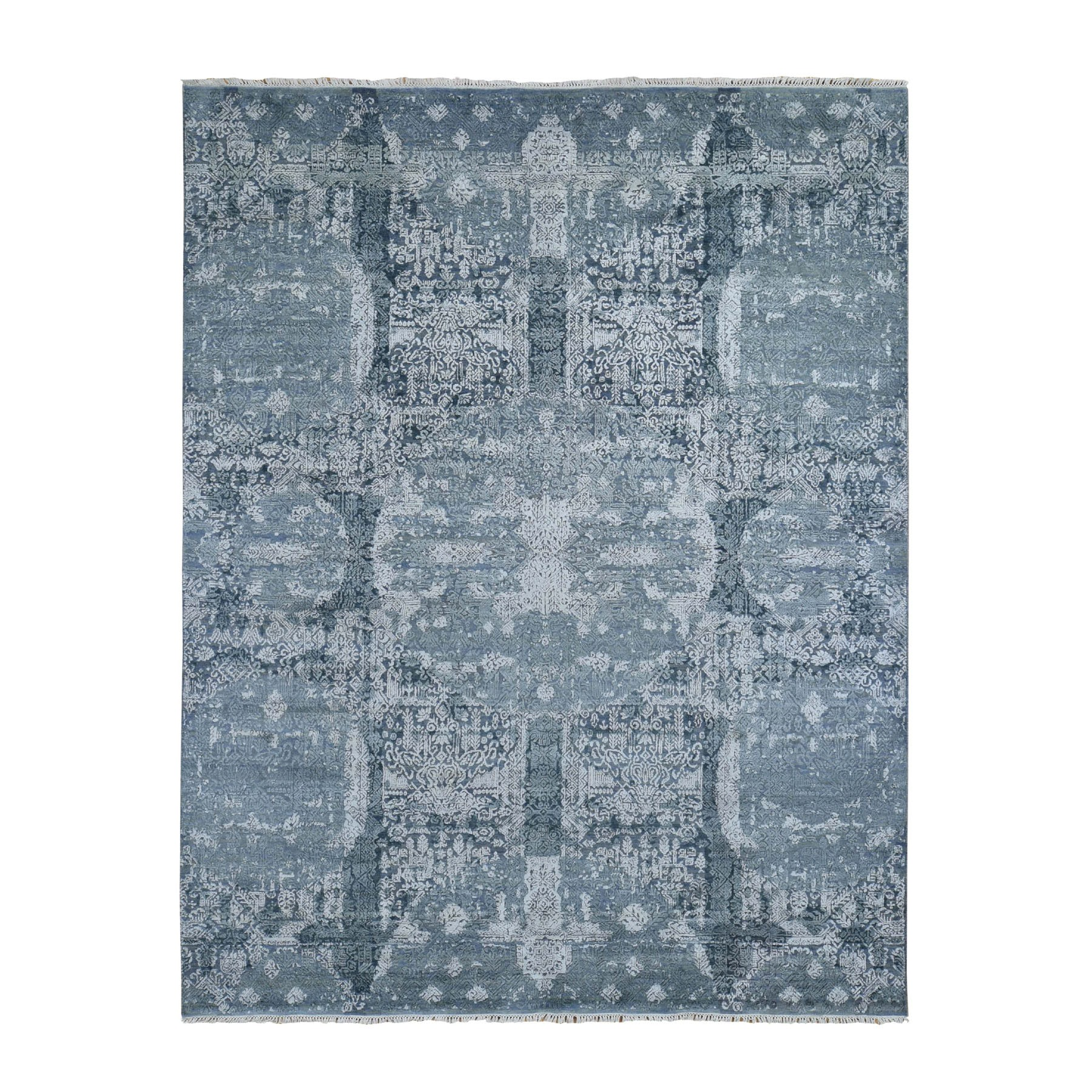 "7'10""X10' Gray Wool And Silk Jewellery Design Hand Knotted Oriental Rug moad7e88"