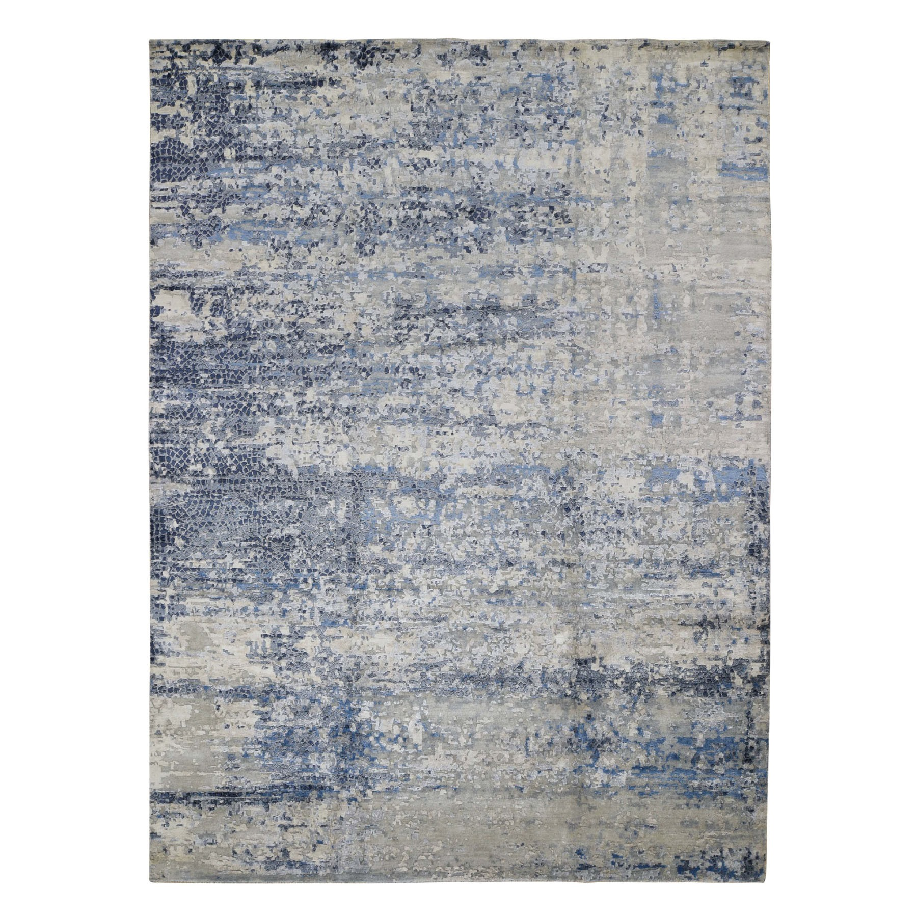 9'X12' Abstract With Mosaic Design Wool And Silk Hand Knotted Oriental Rug moad7e89