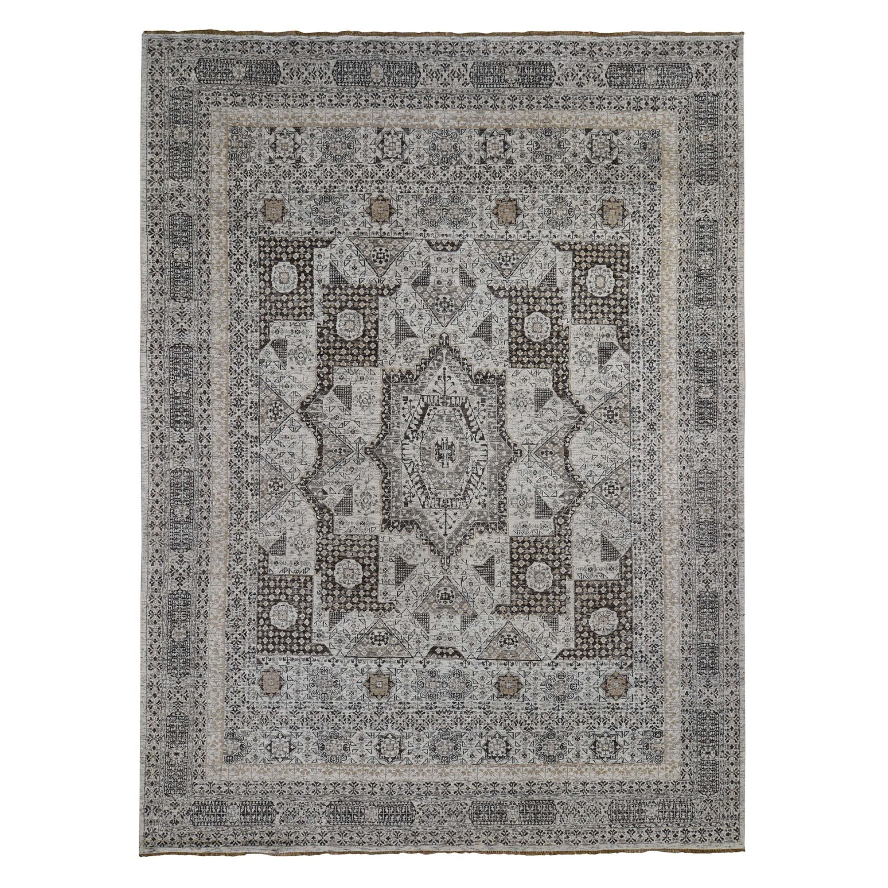 9'x12' Mamluk Design Hand-Knotted Undyed Natural Wool Oriental Rug