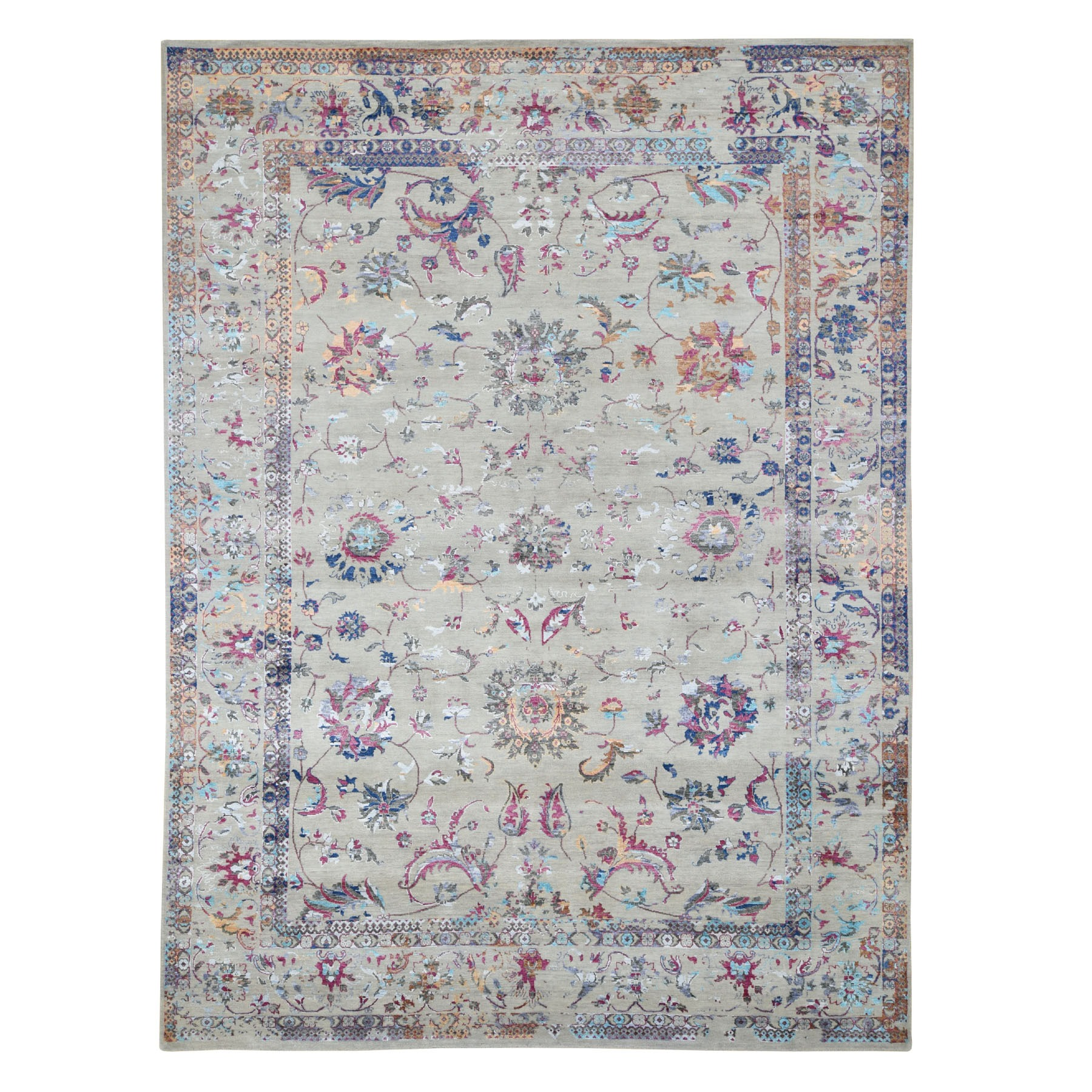 "9'1""X12'1"" Colorful Wool And Silk Erased Persian Design Hand Knotted Oriental Rug moad7e9b"