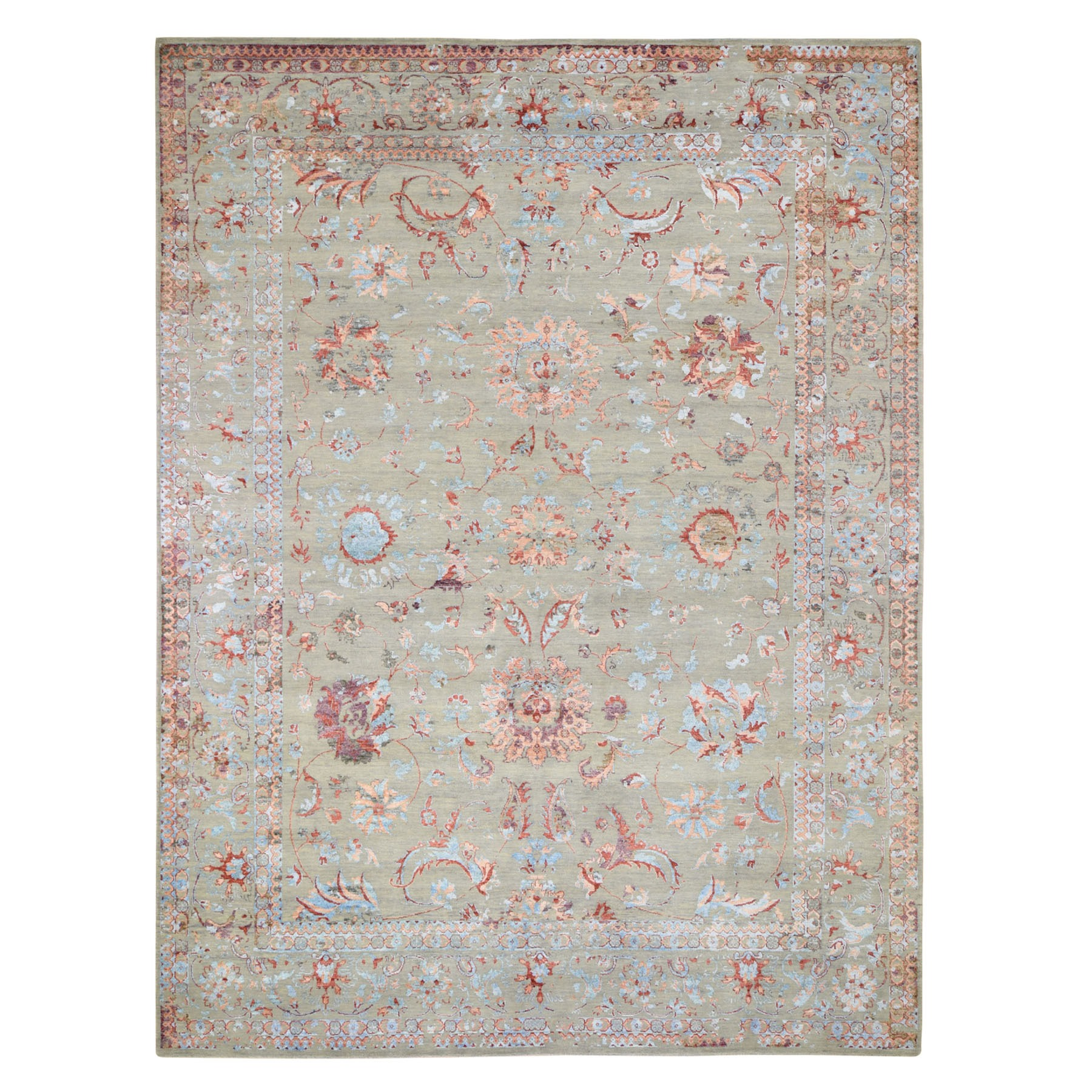 "9'1""X11'9"" Colorful Wool And Silk Erased Persian Design Hand Knotted Oriental Rug moad7e9c"