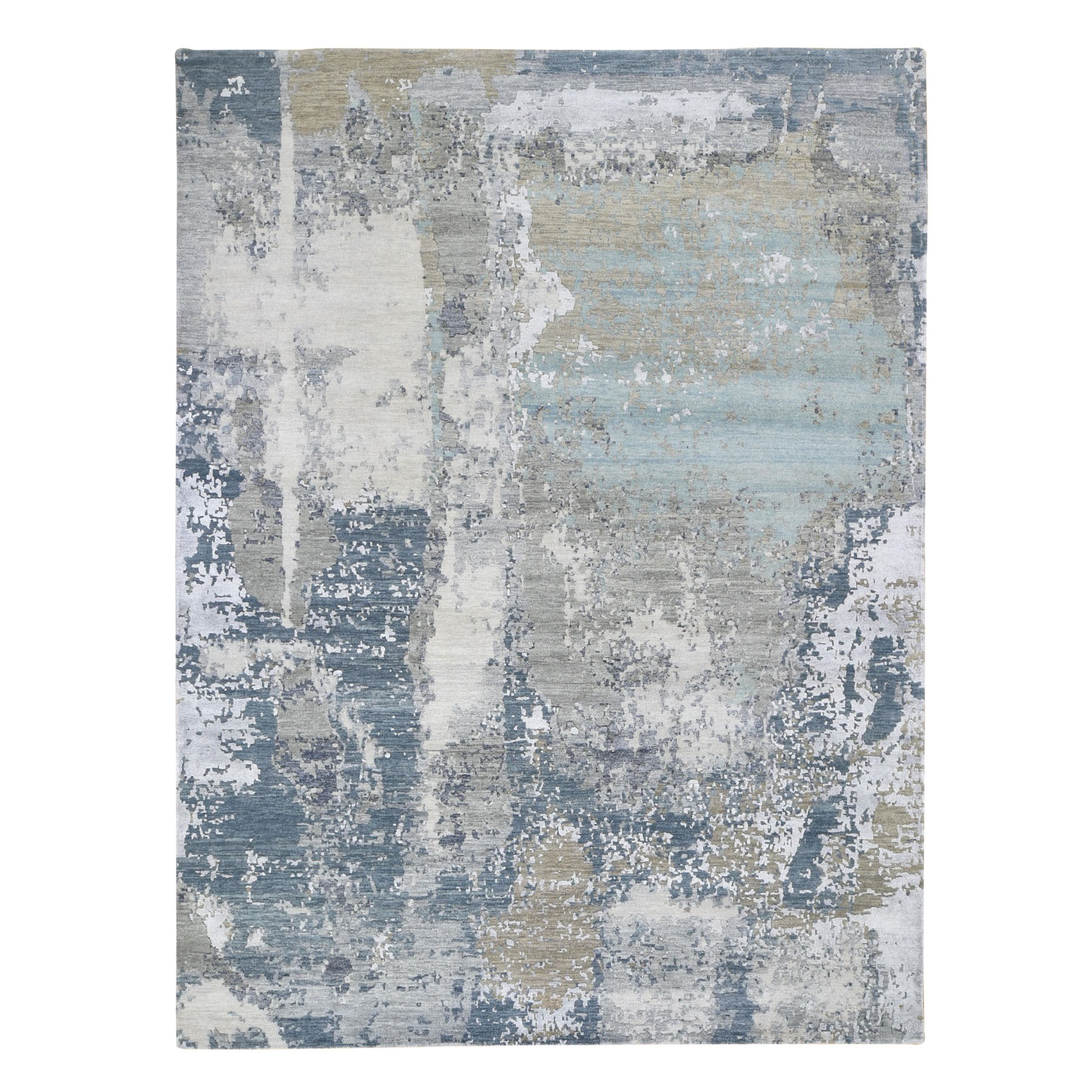 8'x10' Abstract Design Denser Weave Wool And Silk Hand Knotted Modern Rug