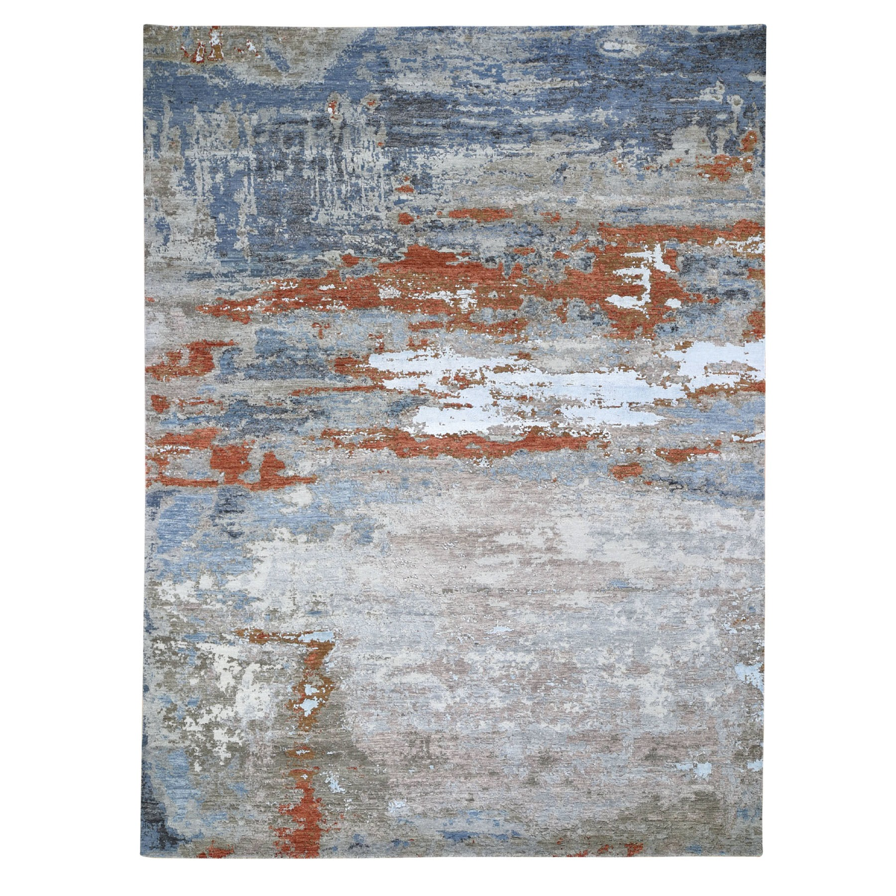 "9'X11'8"" Abstract Design Wool And Silk Hand Knotted Modern Oriental Rug moad7e96"