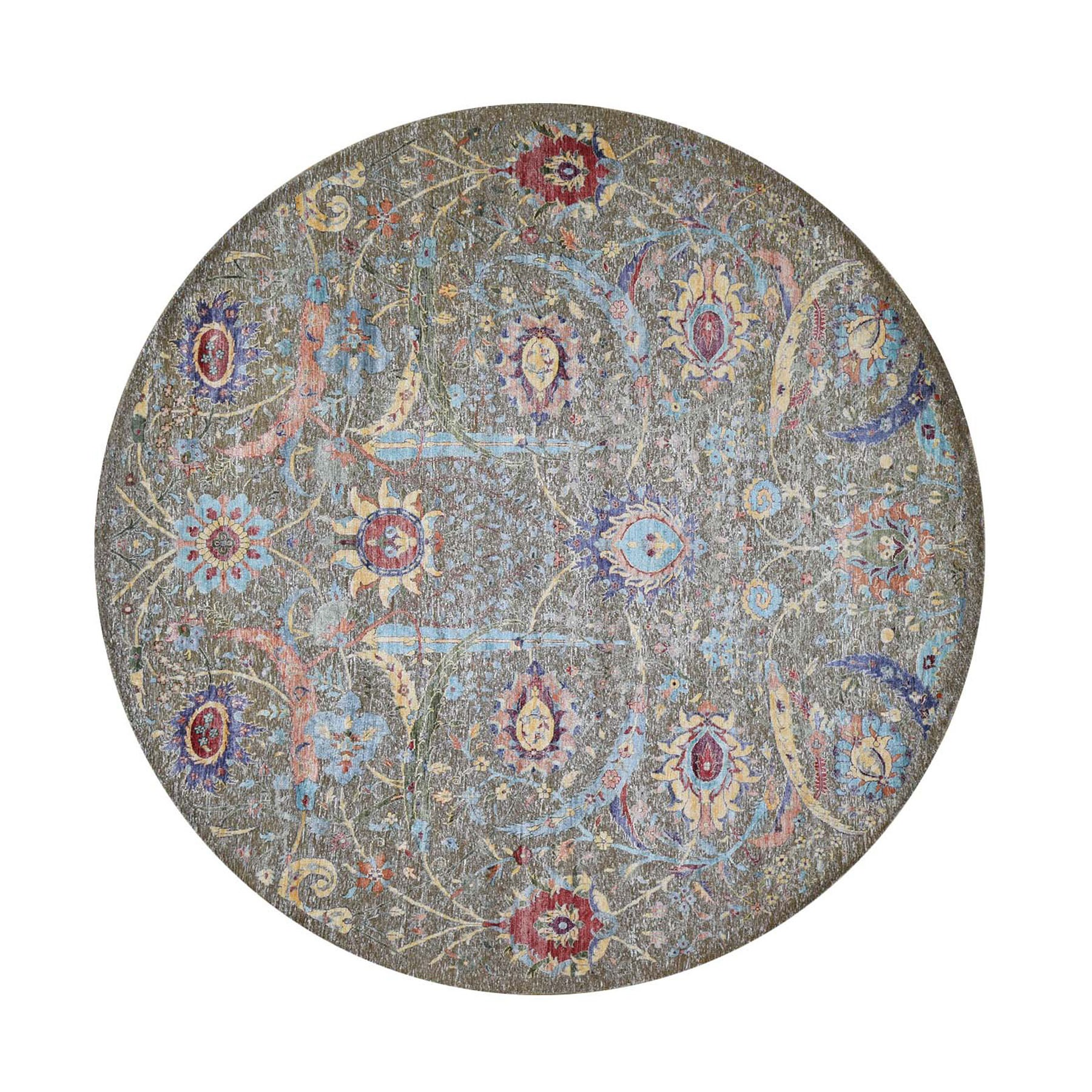 "9'10""x9'10"" Round Sickle Leaf Design Silk With Textured Wool Hand Knotted Oriental Rug"