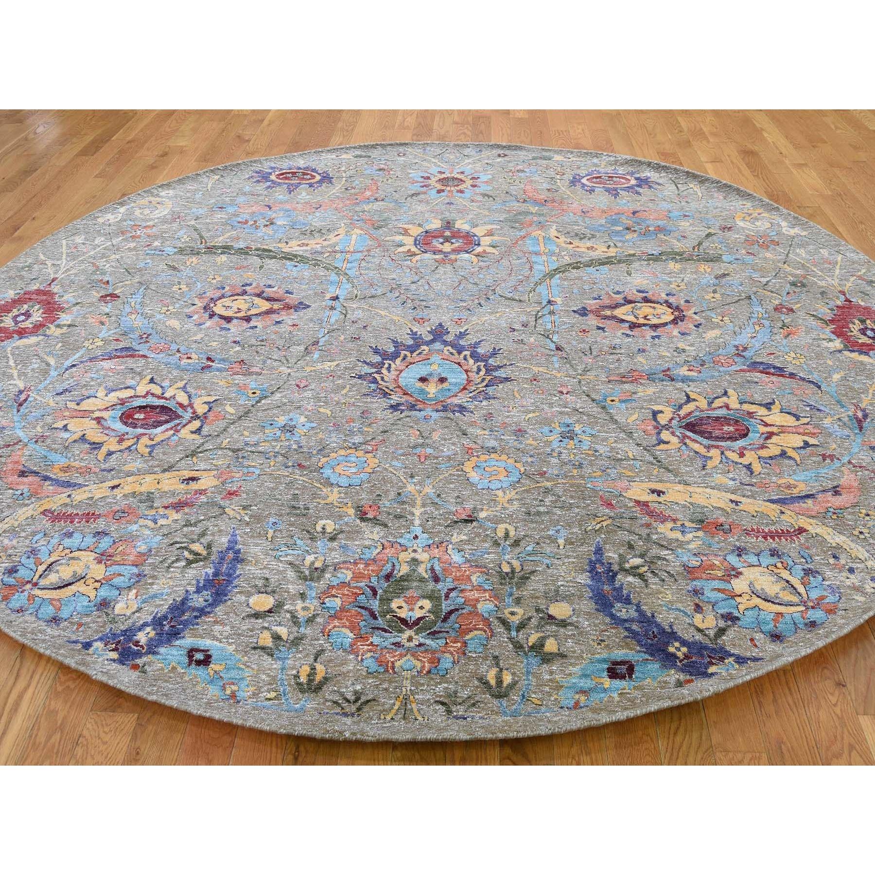 "9'10""x9'10"" Round Sickle Leaf Design Silk With Textured Wool Hand Knotted Oriental Rug"