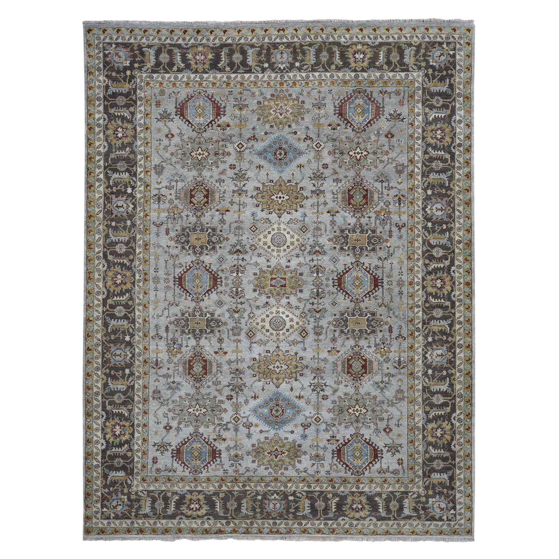 "9'1""X11'9"" Gray Karajeh Design Hand Knotted Pure Wool Oriental Rug moad7e99"