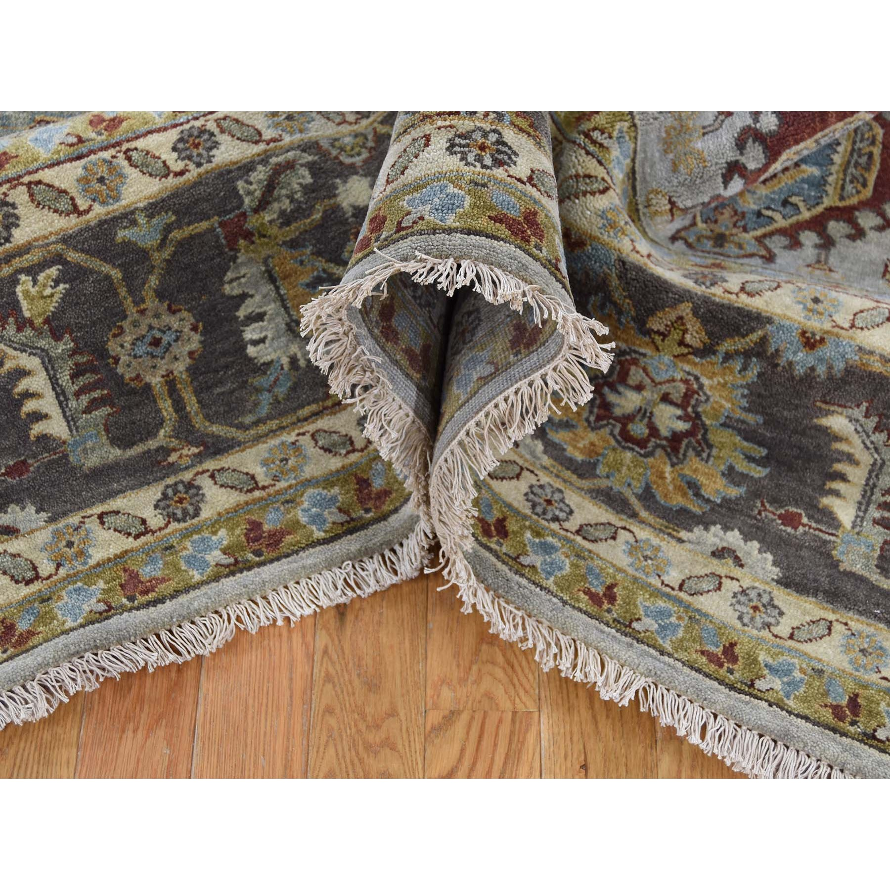 9-1 x11-9  Gray Karajeh Design Hand Knotted Pure Wool Oriental Rug