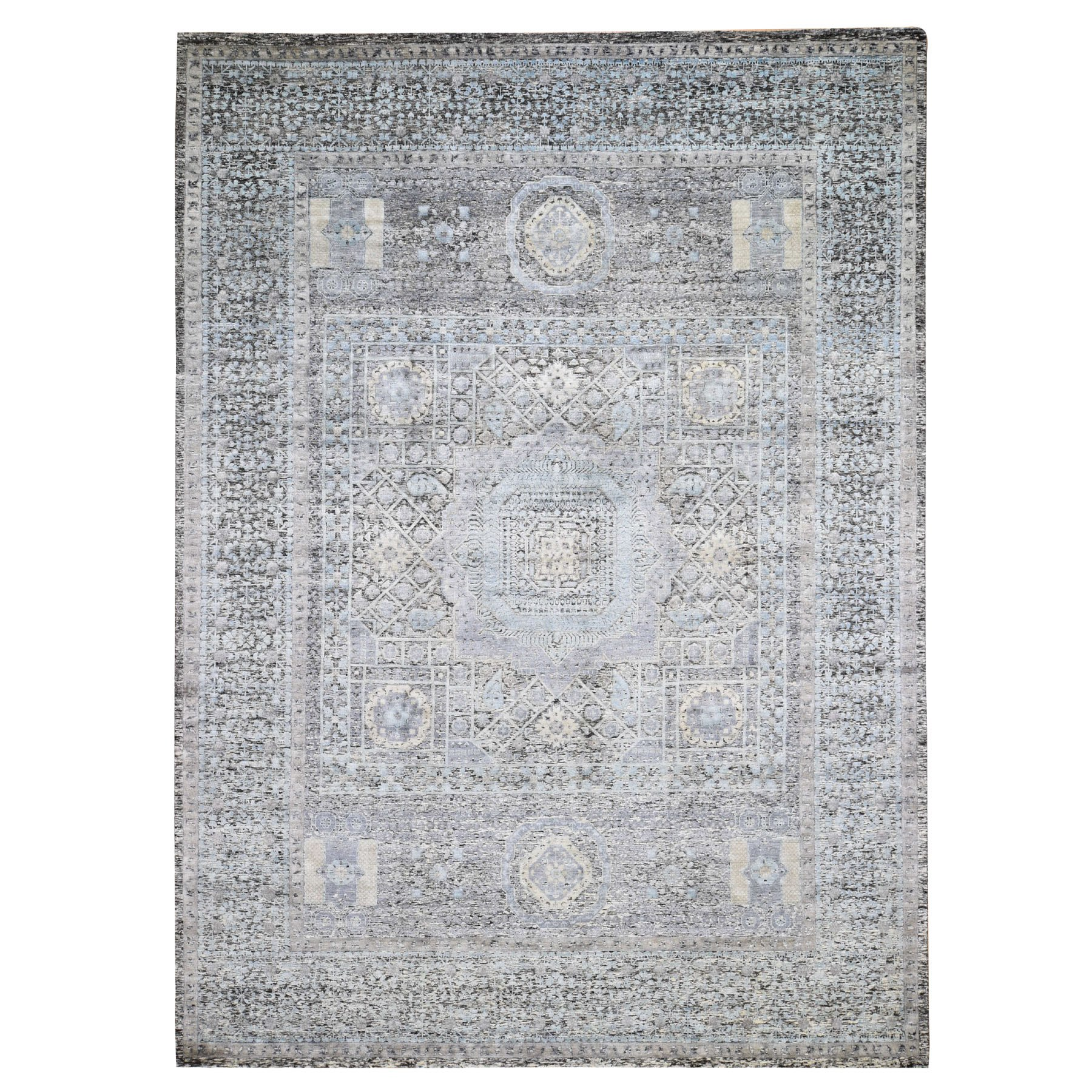 """9'X11'9"""" Shibori Design Wool And Silk Tone On Tone Hand Knotted Oriental Rug moad760a"""