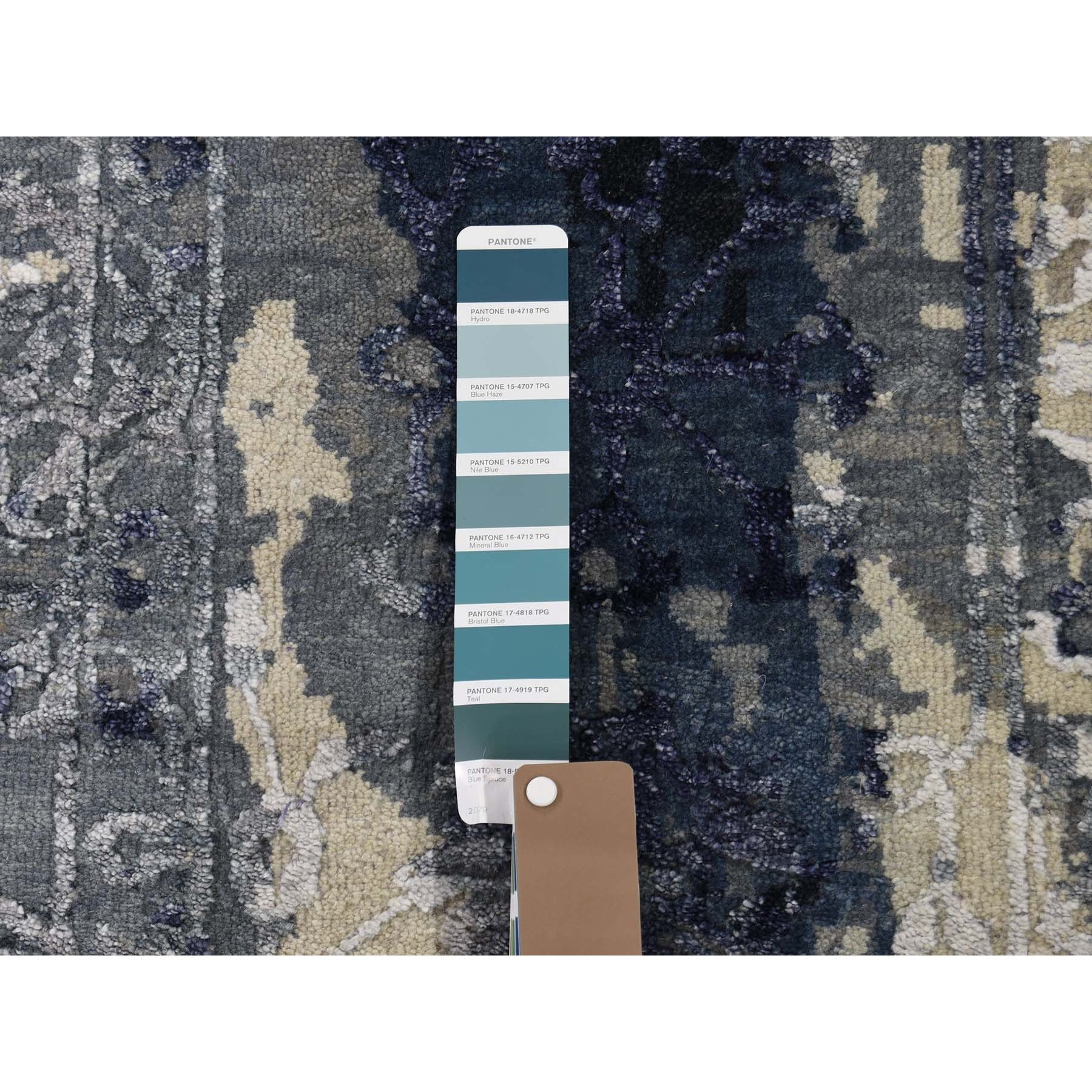 9-x11-9  Shibori Design Wool And Silk Tone On Tone Hand Knotted Oriental Rug