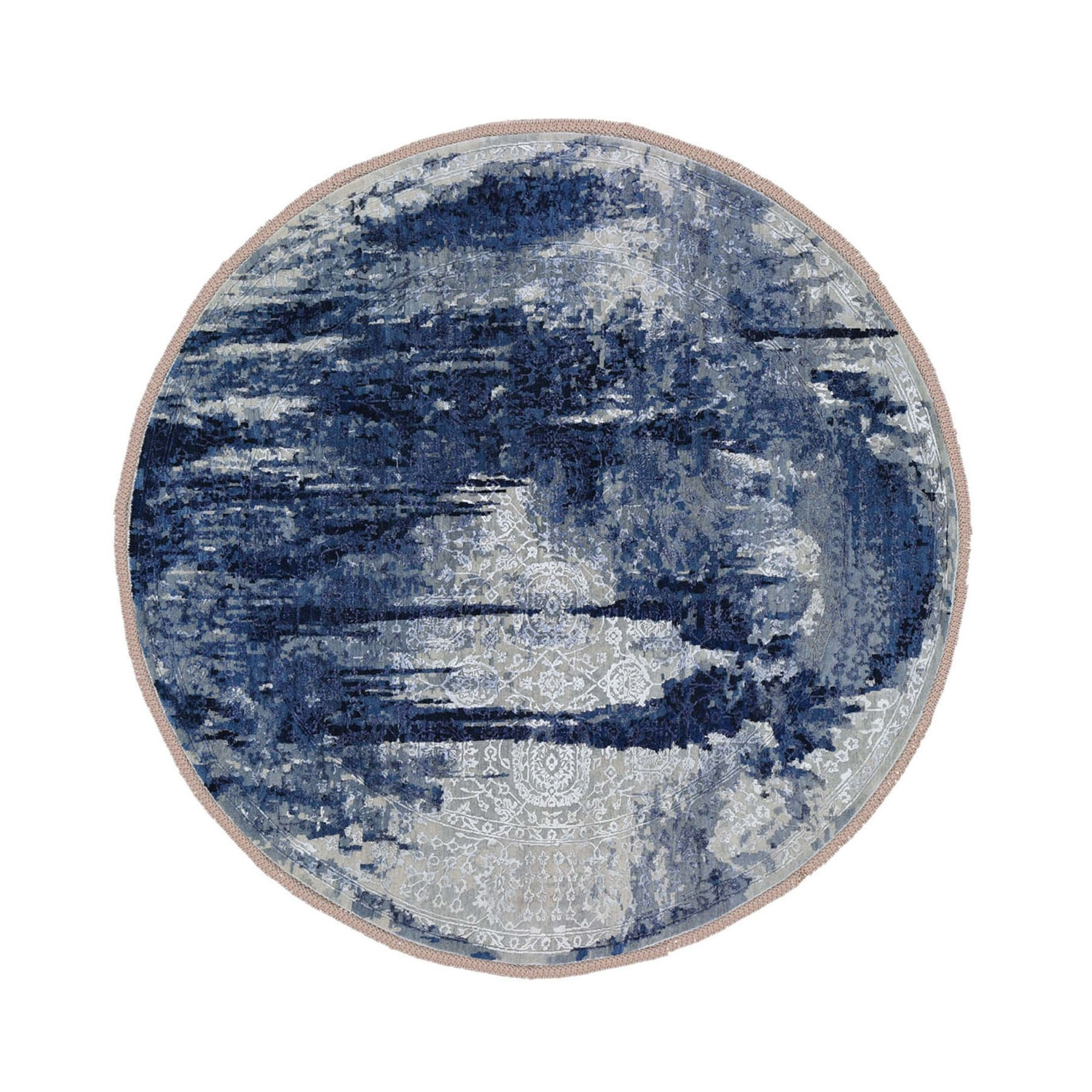 "11'9""x11'9"" Round Wool And Silk Shibori Design Tone On Tone Hand Knotted Oriental Rug"