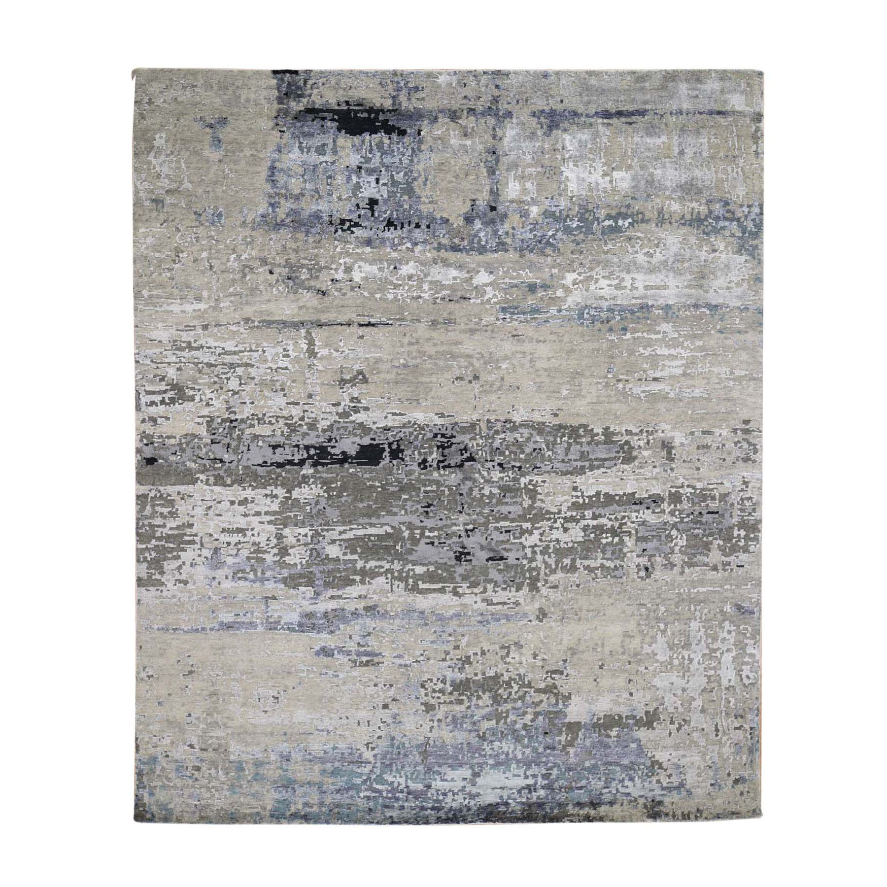 8'2X10' Hand Knotted Gray Abstract Design Wool And Silk Oriental Rug moad760d