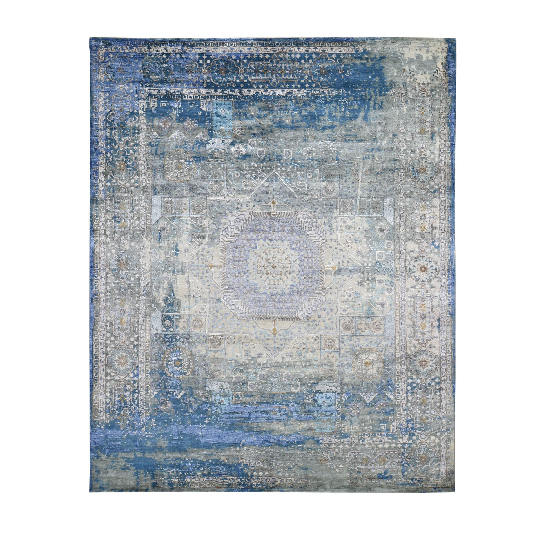 "8'X9'10"" Silk With Textured Wool Hi-Low Pile Mamluk Design Hand Knotted Fine Oriental Rug moad7606"