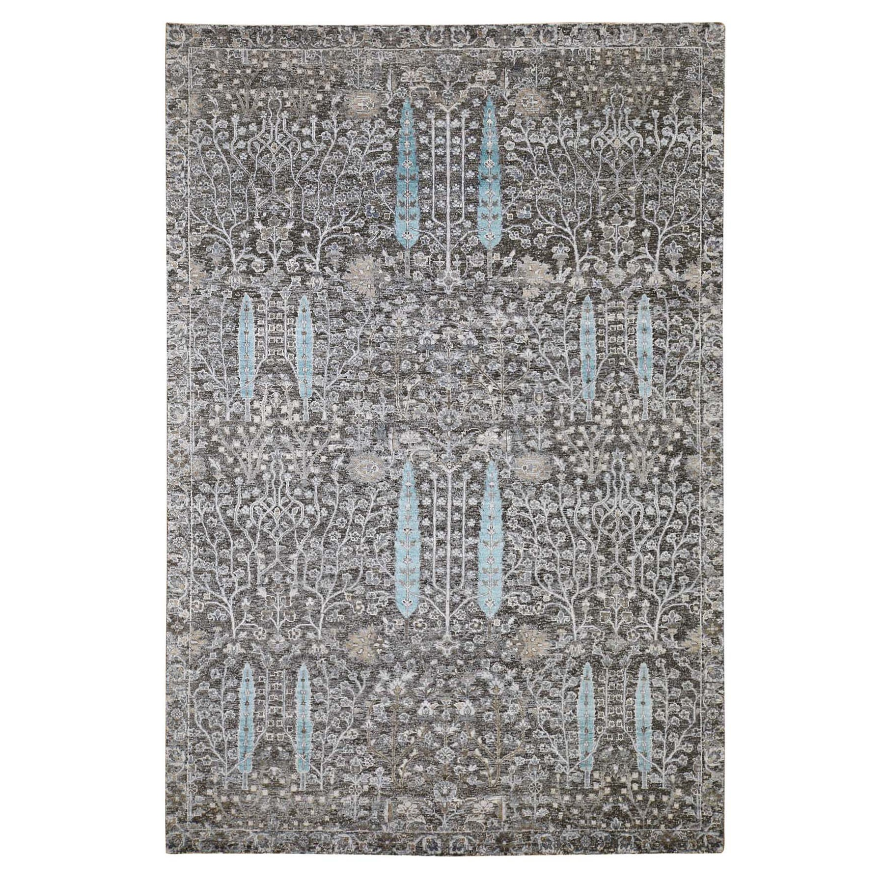 6'X9' Hand Knotted Cypress Tree Design Silk With Textured Wool Oriental Rug moad7609