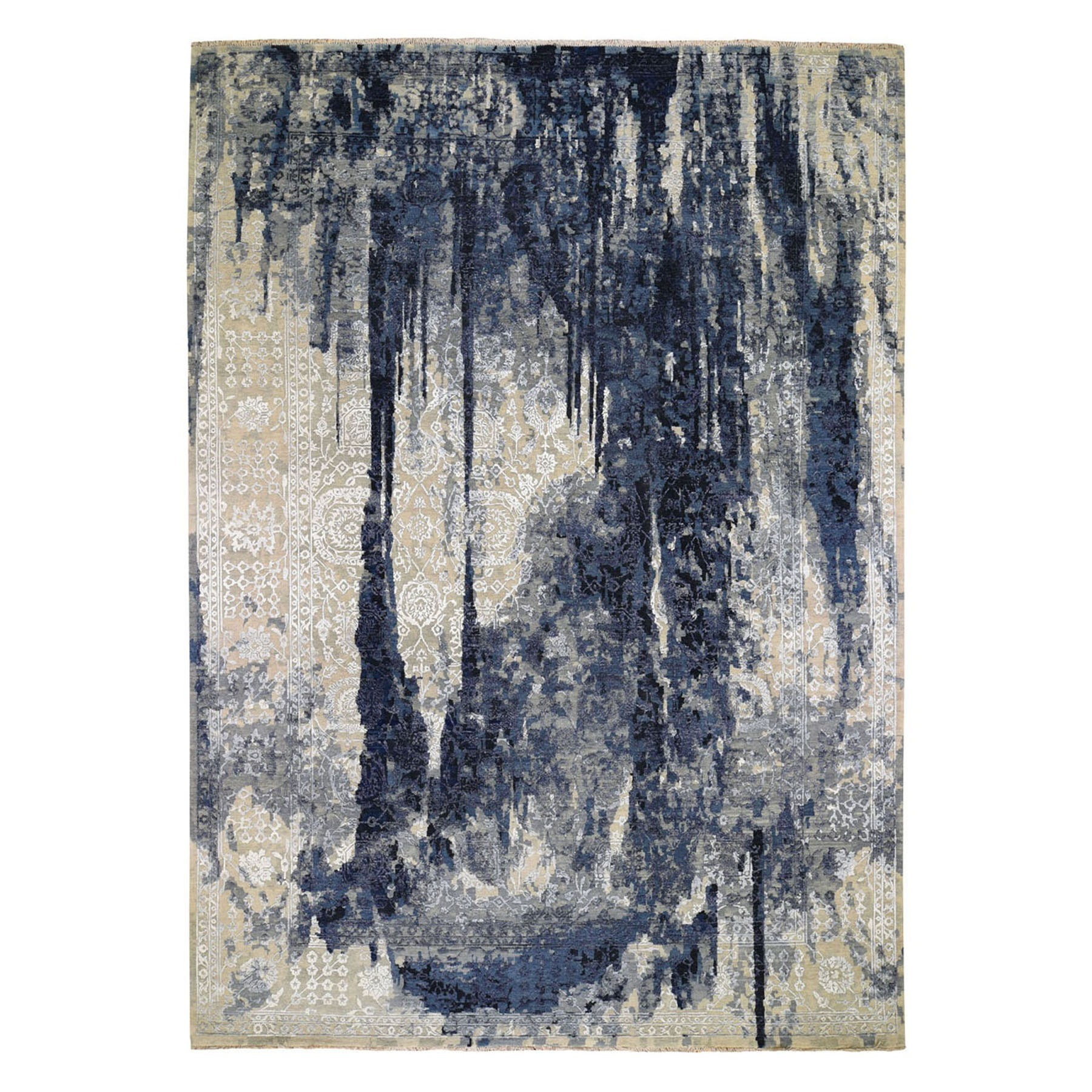 "10'X13'10"" Wool And Silk Shibori Design Tone On Tone Hand Knotted Oriental Rug moad76ab"