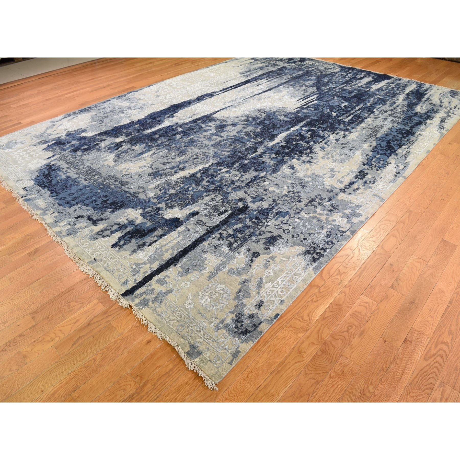 10-x13-10  Wool And Silk Shibori Design Tone On Tone Hand Knotted Oriental Rug