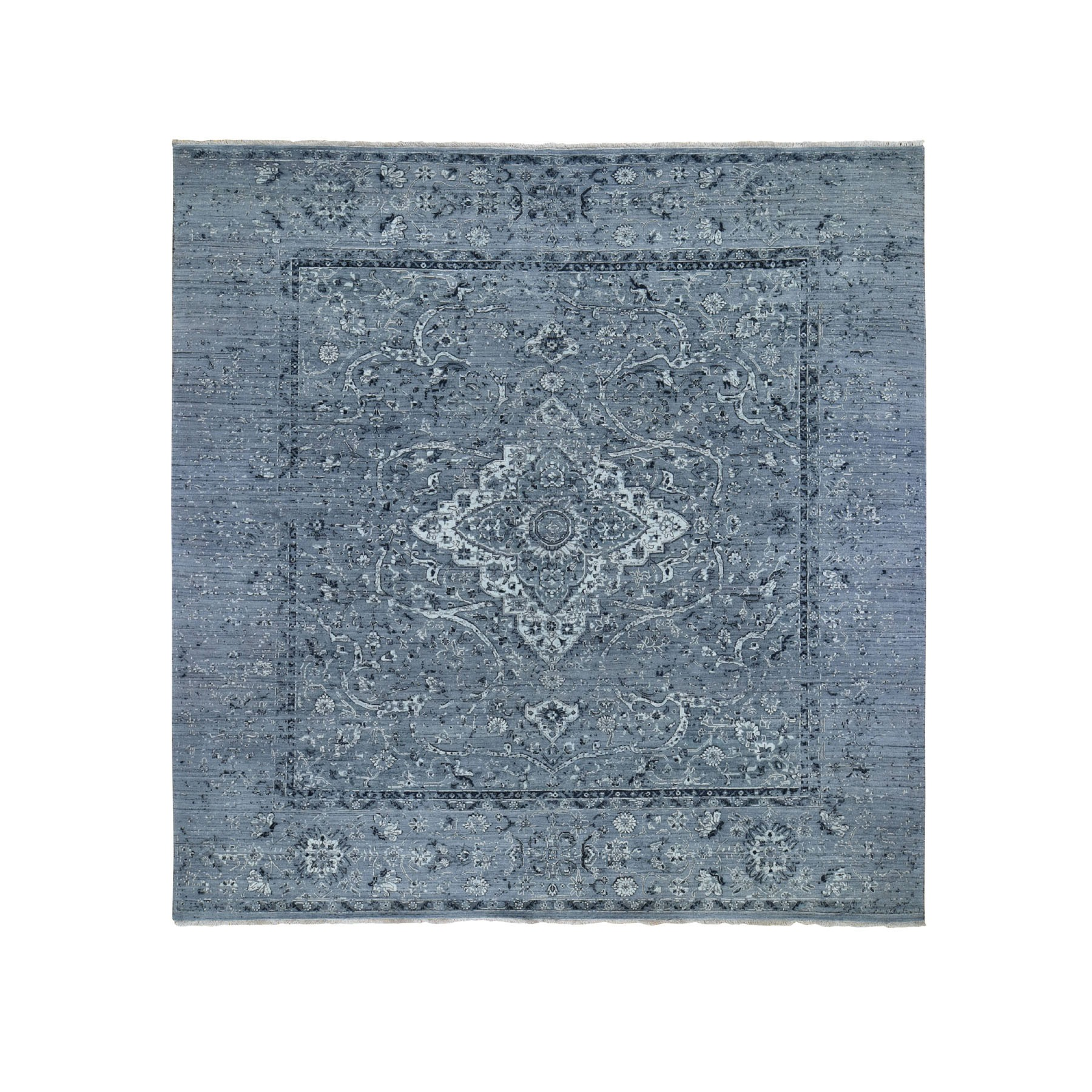 10'x10' Square Gray Broken Persian Erased Design Pure Silk With Textured Wool Hand Knotted Oriental Rug