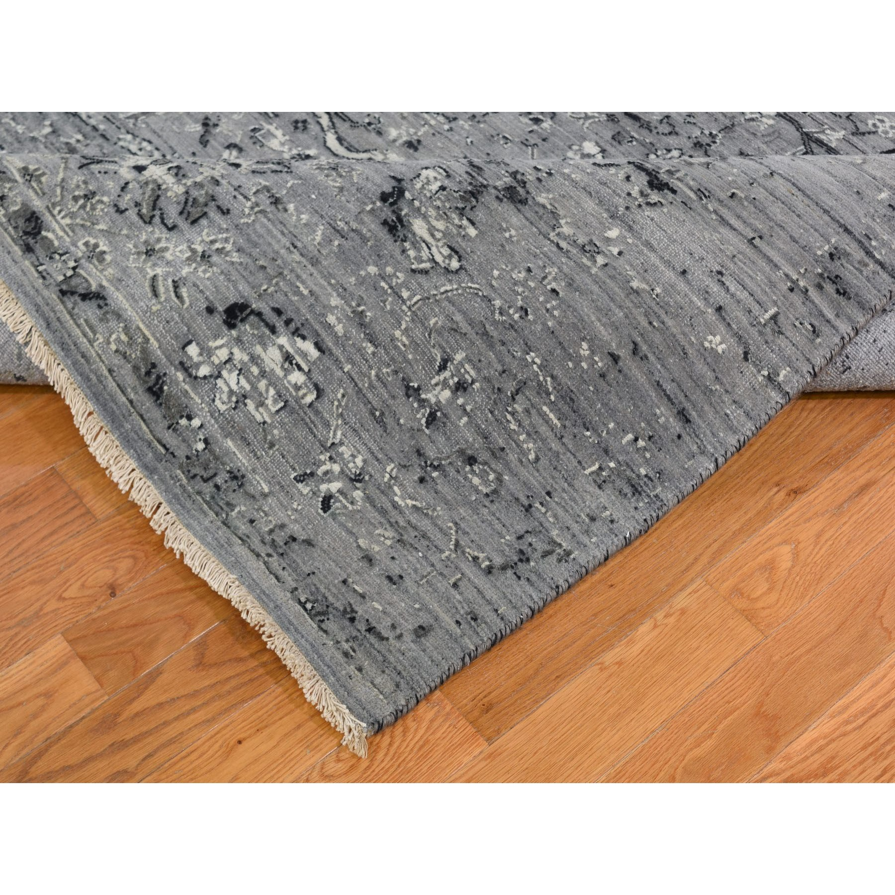 10-x10- Square Gray Broken Persian Erased Design Pure Silk With Textured Wool Hand Knotted Oriental Rug