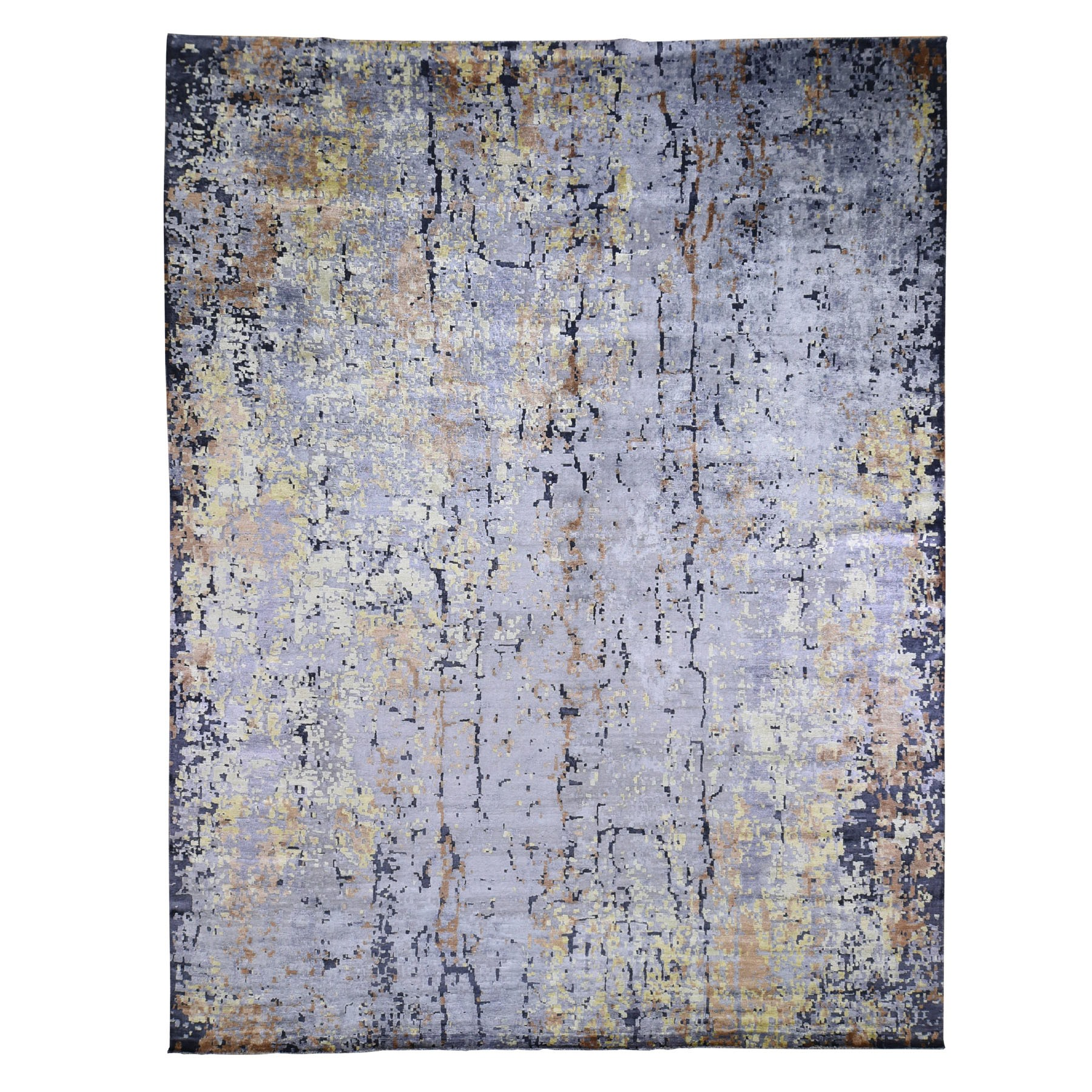 "11'10""x14'9"" Oversize Gray Abstract Design Wool and Silk Hi-Low Pile Hand Knotted Oriental Rug"