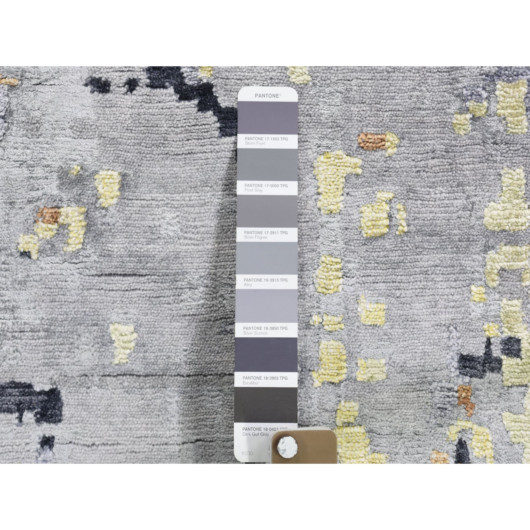 11-10 x14-9  Oversize Gray Abstract Design Wool and Silk Hi-Low Pile Hand Knotted Oriental Rug