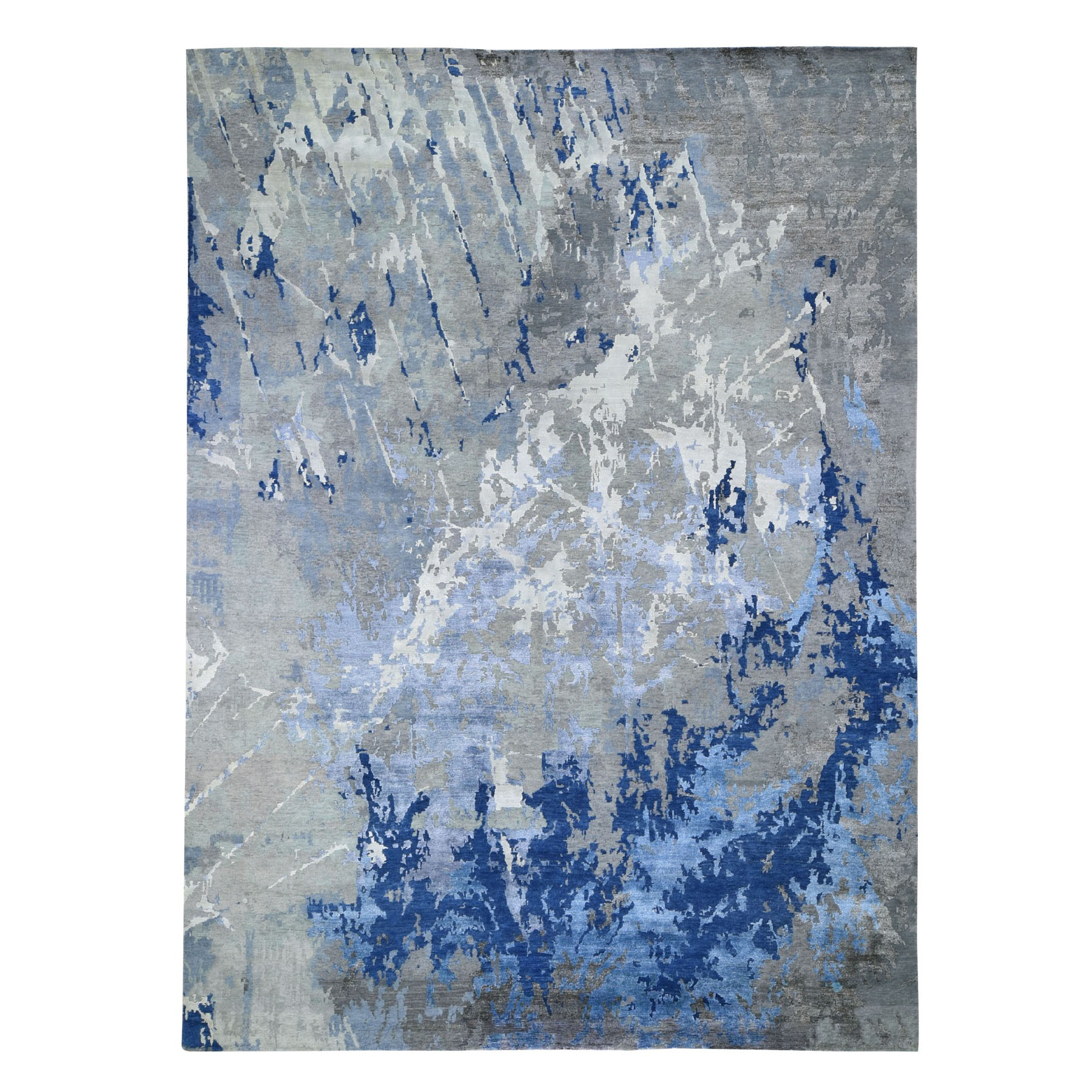 """10'1""""x13'9"""" Blue Abstract Design Wool and Silk Hi-Low Pile Hand Knotted Oriental Rug 47616"""