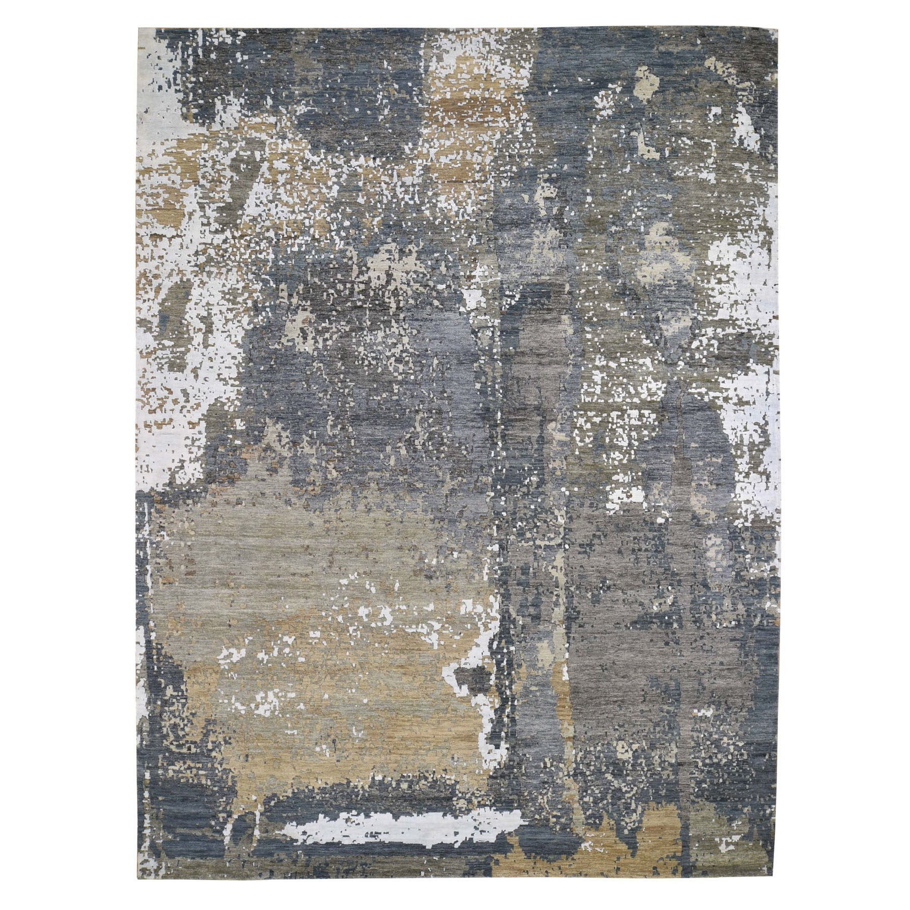 "9'x12'3"" Gray Abstract Design Wool and Silk Hi-Low Pile Hand Knotted Oriental Rug"