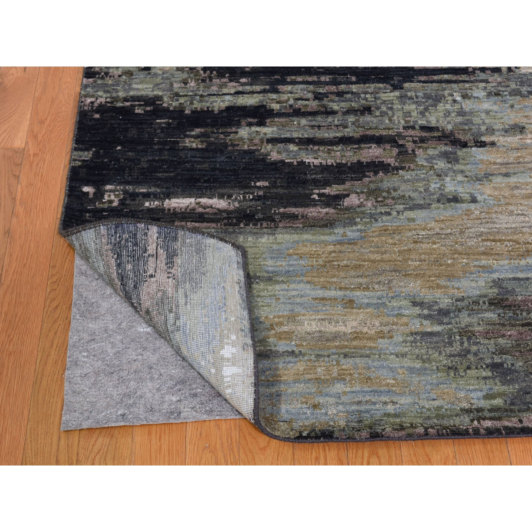 10-x14- Abstract Design Wool And Silk Hand Knotted Modern Oriental Rug