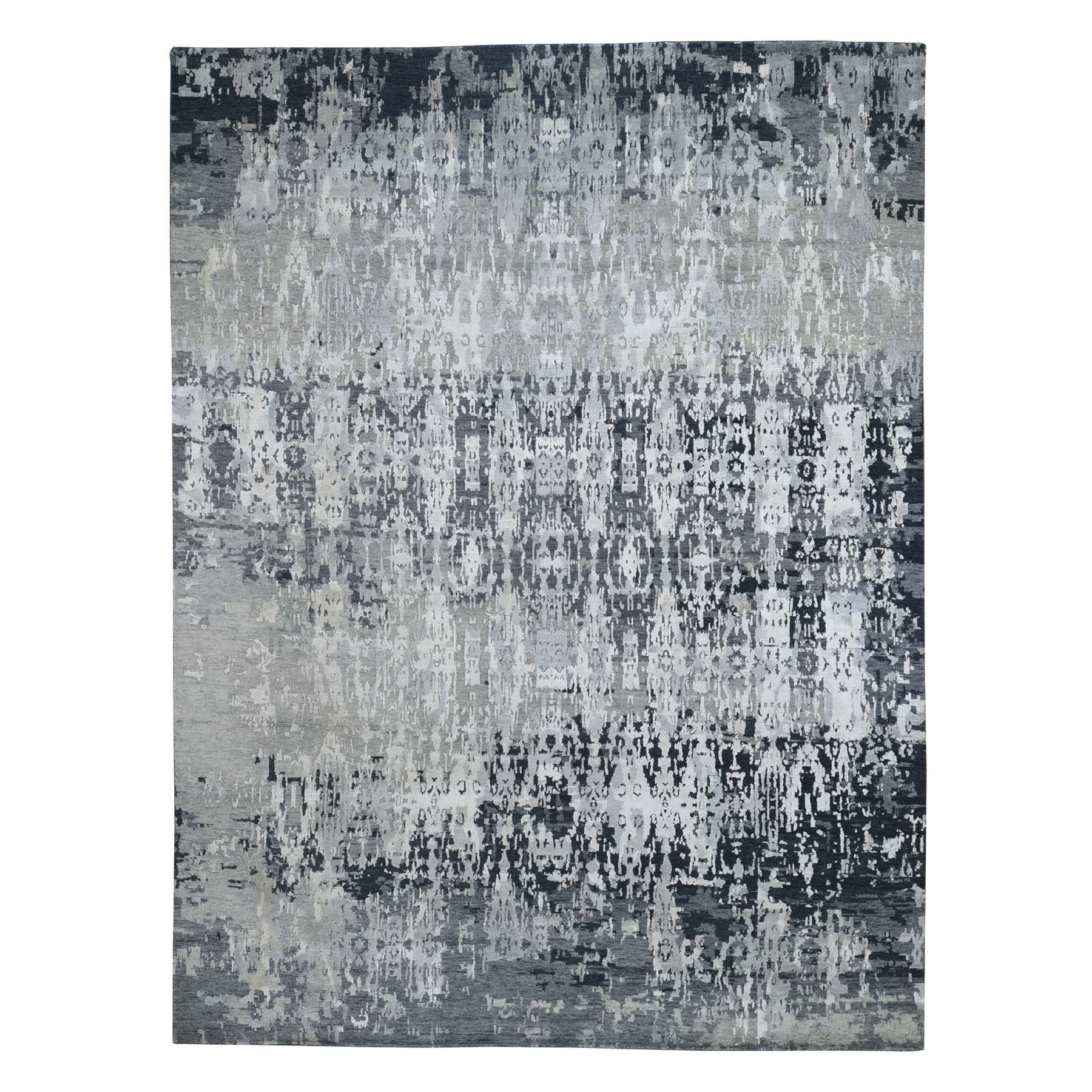 "8'10""X11'8"" Silver Abstract Design Wool And Silk Hi-Low Pile Hand Knotted Oriental Rug moad76a9"