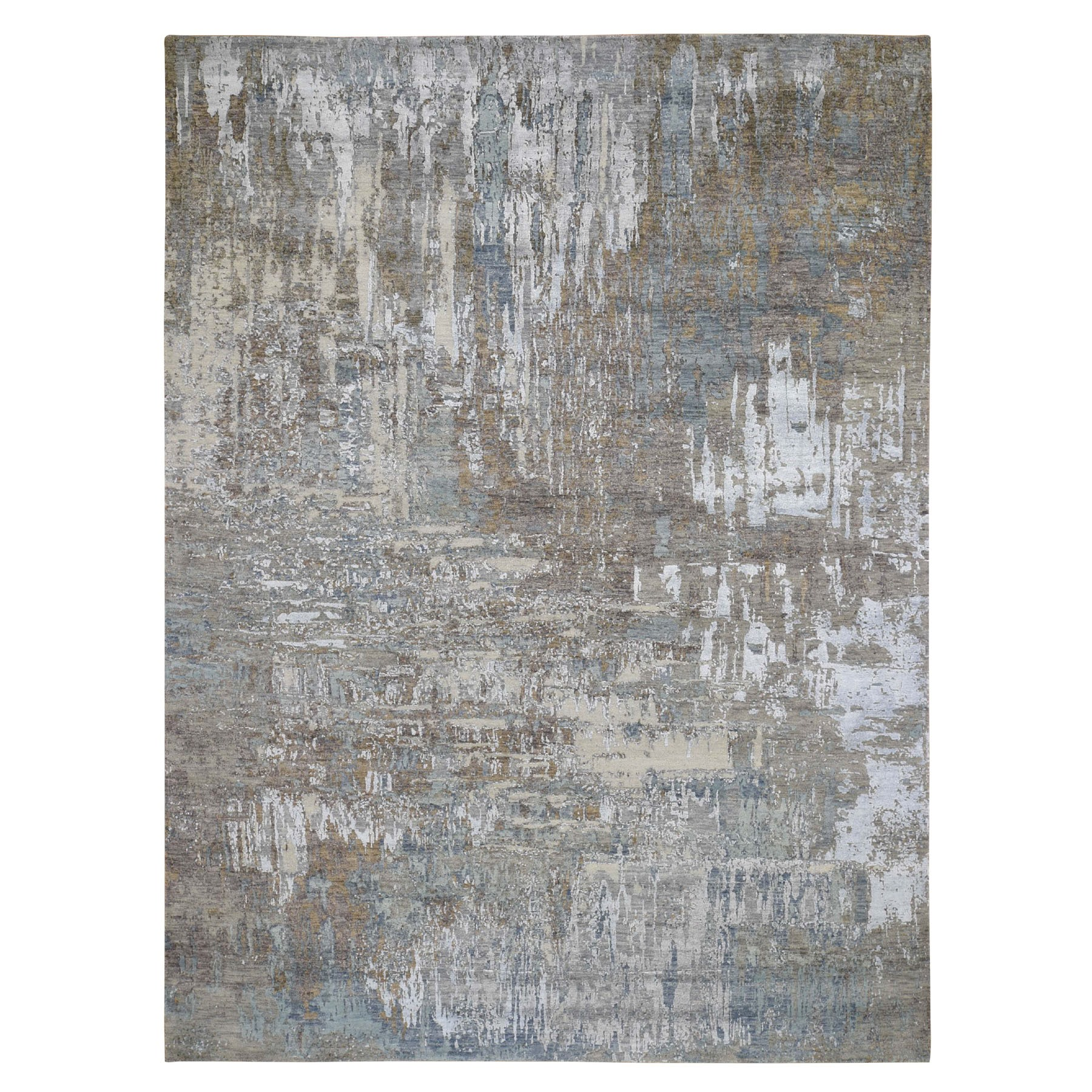 "8'x10'7"" Gray Abstract Design Wool and Silk Hi-Low Pile Hand Knotted Oriental Rug 47620"