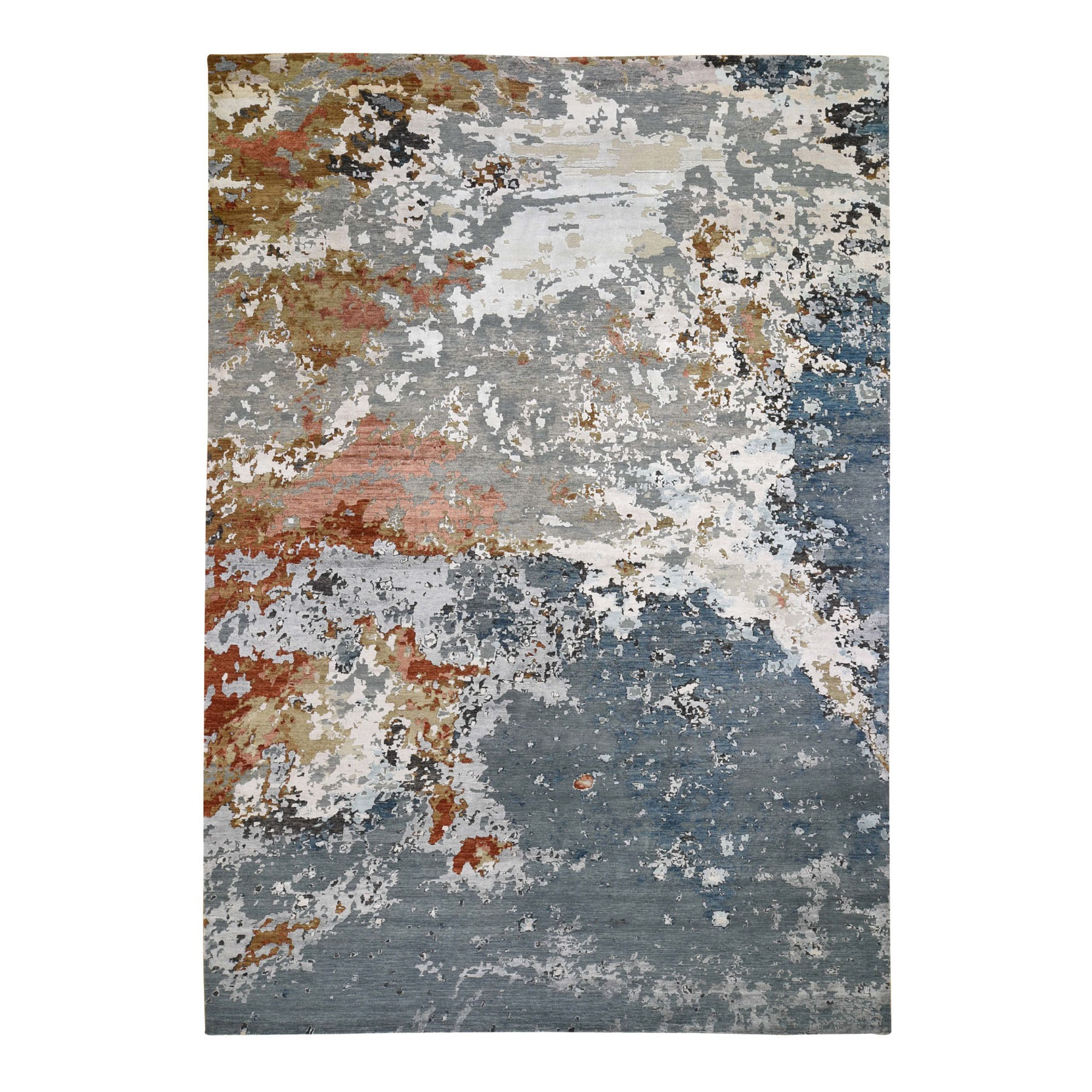 "9'10""X14' Gray Abstract Design Wool And Silk Hi-Low Pile Hand Knotted Oriental Rug moad76bc"