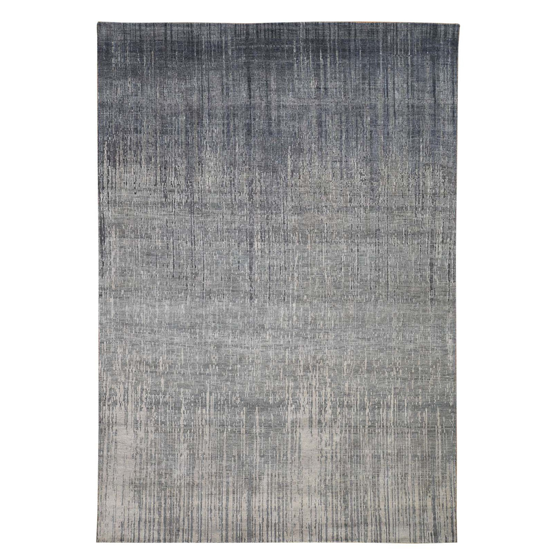 "6'1""X9'2"" Gray Ombre Design Pure Silk Hand Knotted Oriental Rug moad76bd"